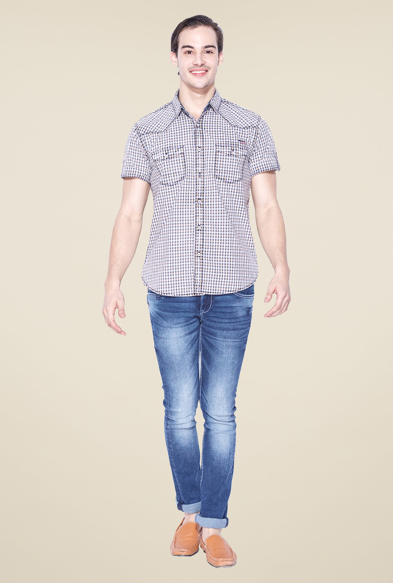 Mufti Khaki Checked Shirt