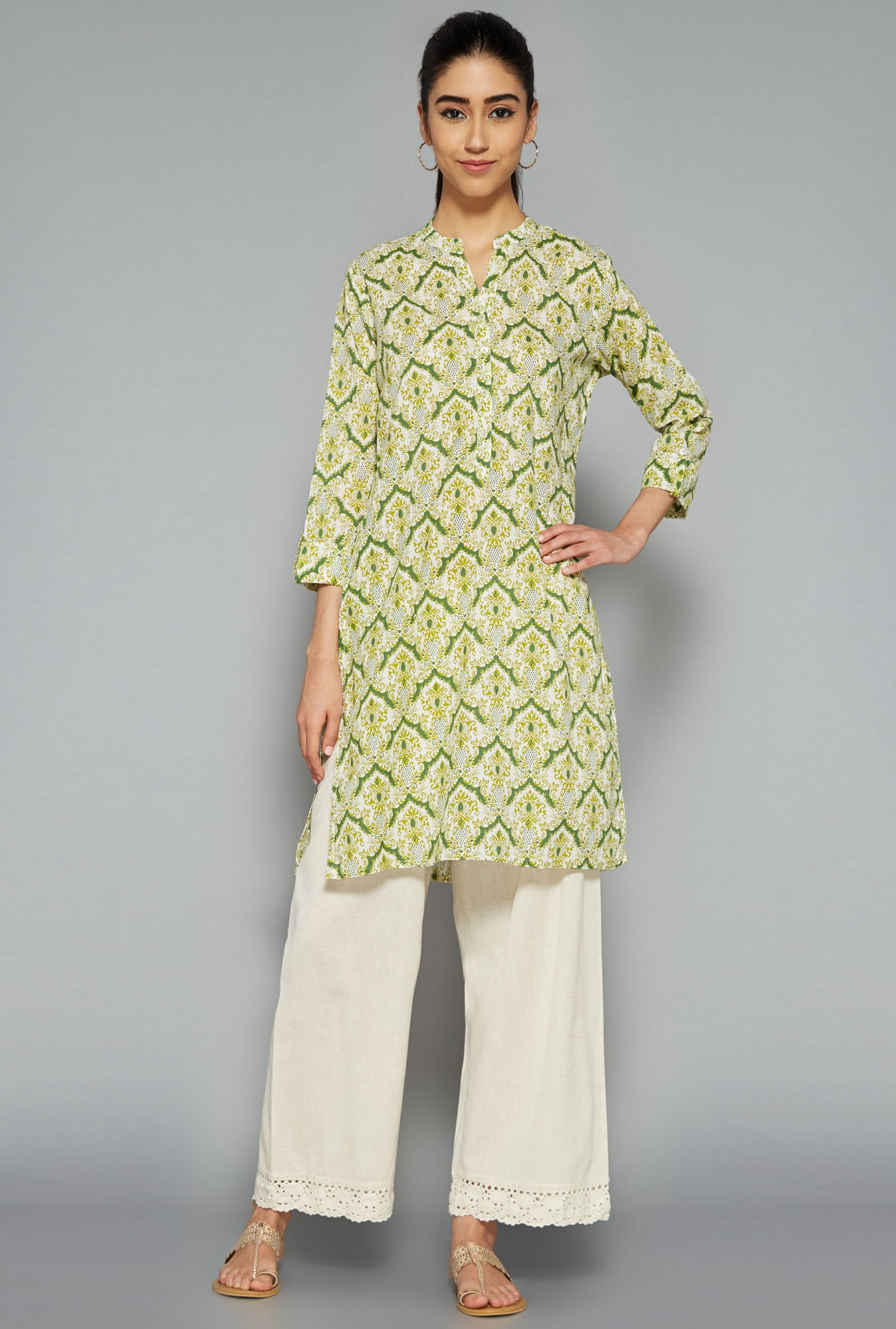 Utsa by Westside Lime Printed Kurti