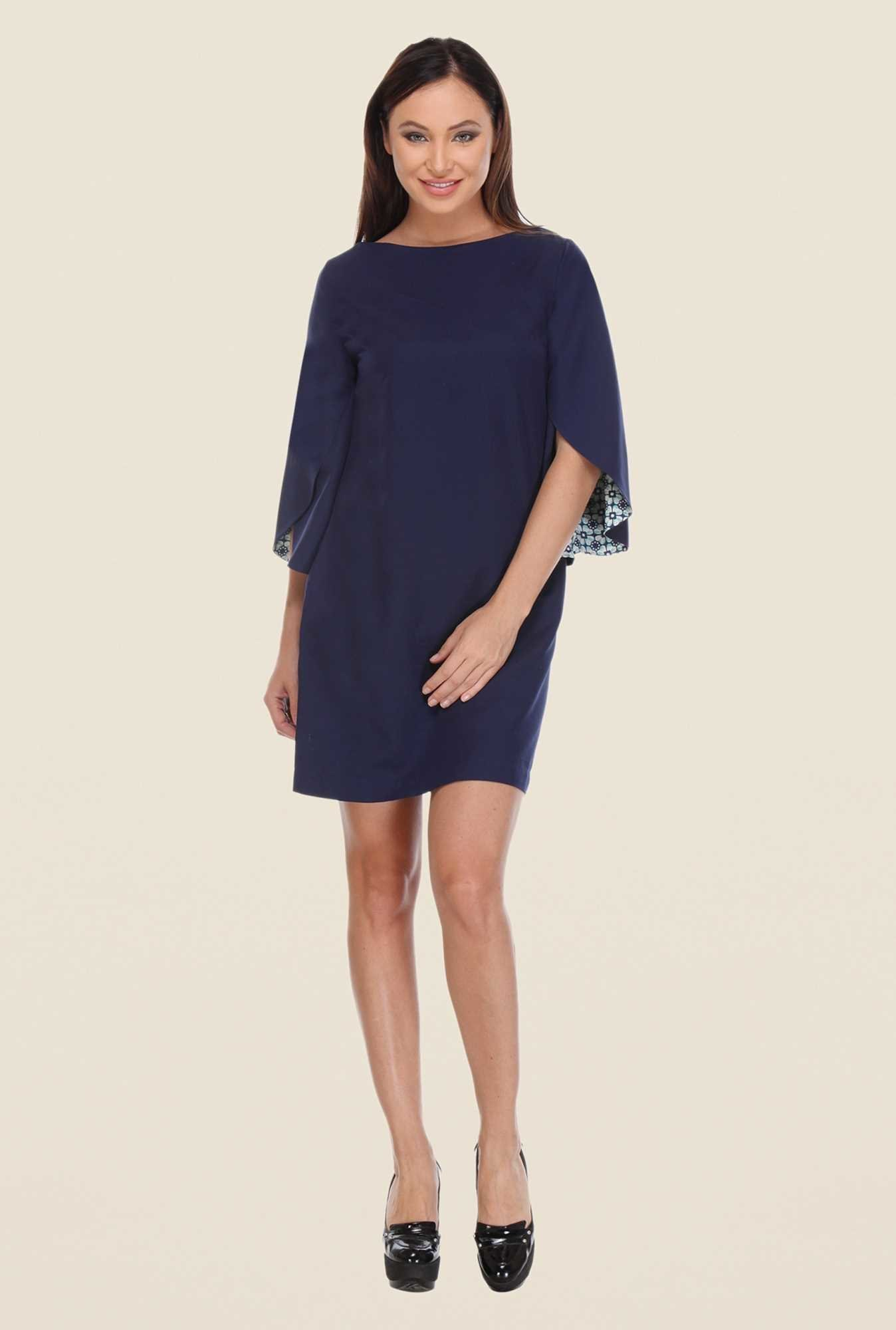 Kaaryah Navy Solid Mini Dress