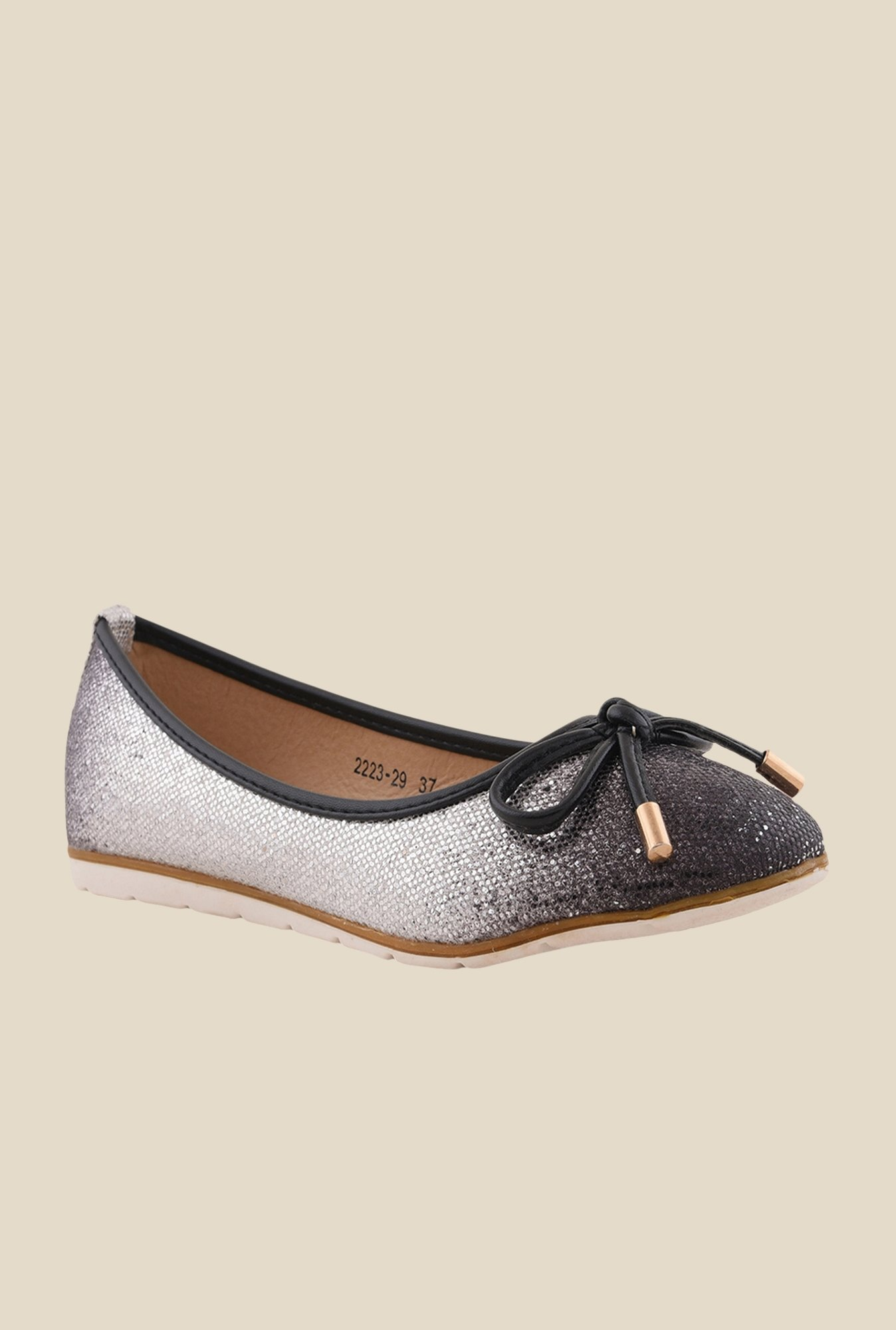 Bruno Manetti Black & Silver Flat Ballets