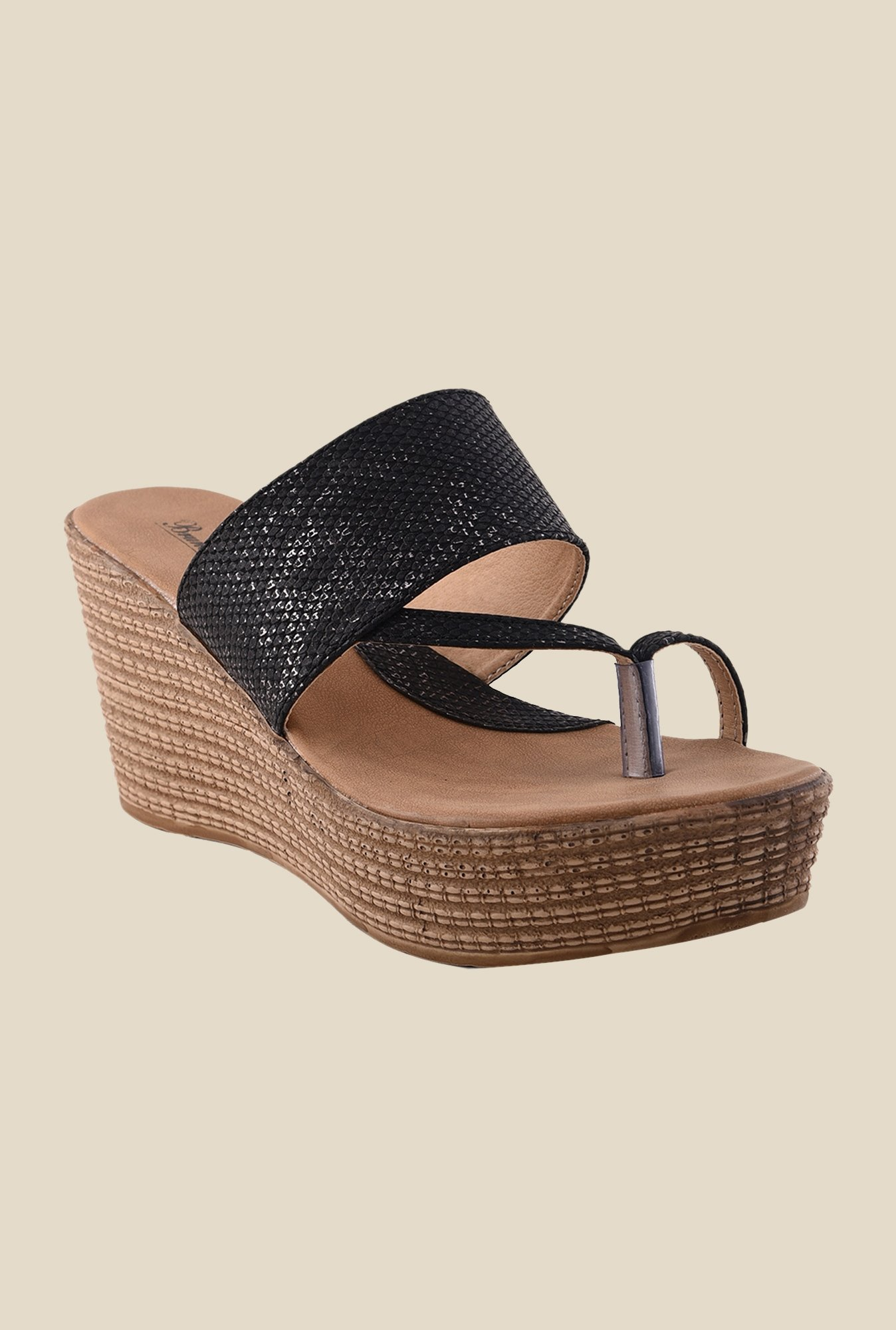 Bruno Manetti Black Toe Ring Wedges