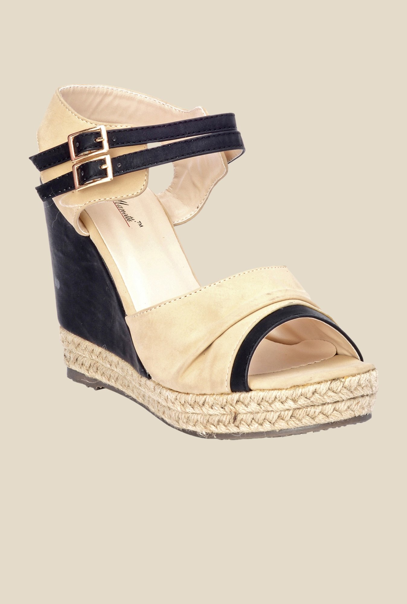 Bruno Manetti Beige & Black Ankle Strap Wedges