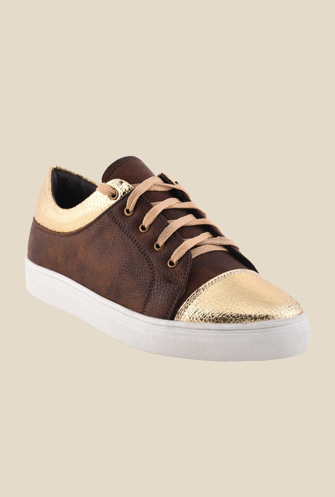 Bruno Manetti Gold & Brown Sneakers