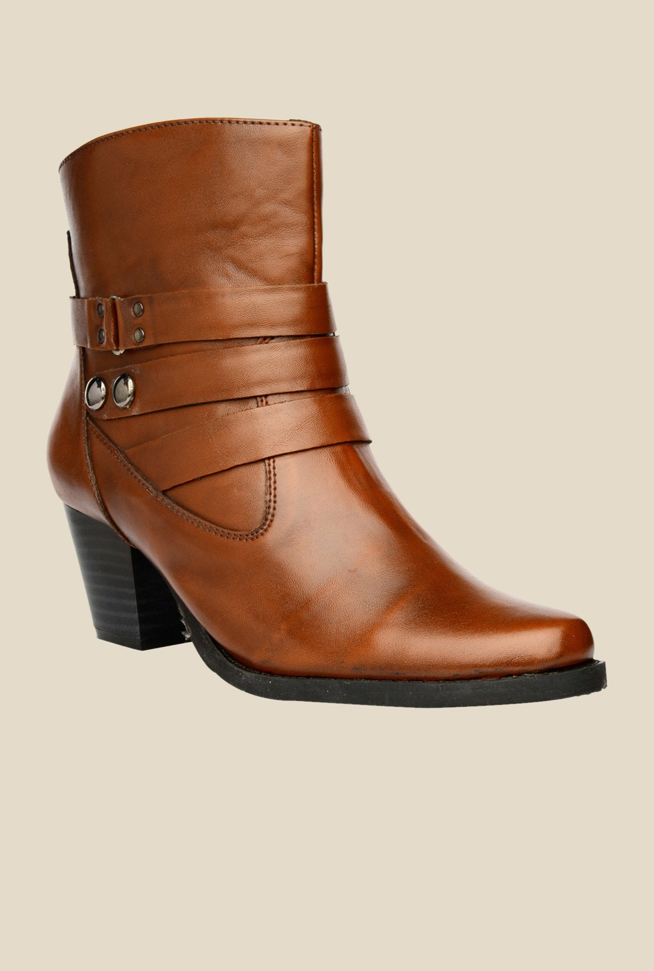 Bruno Manetti Tan Block Heeled Booties