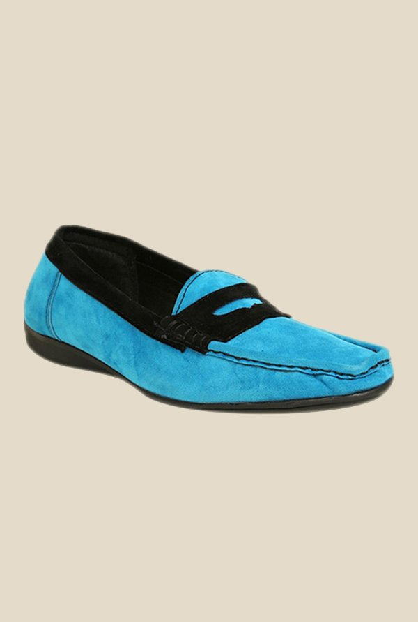 Bruno Manetti Sky Blue & Black Loafers