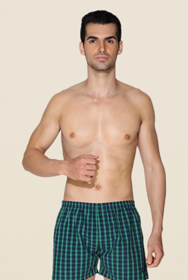 Chromozome Navy & Green Checks Boxers (Pack Of 2)