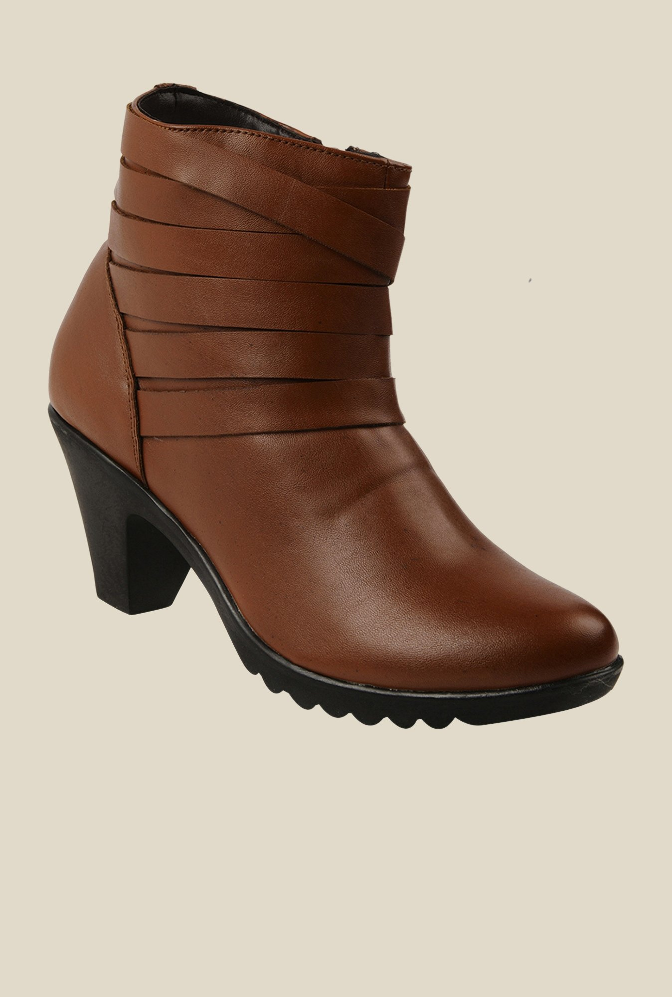 Bruno Manetti Brown Block Heeled Booties