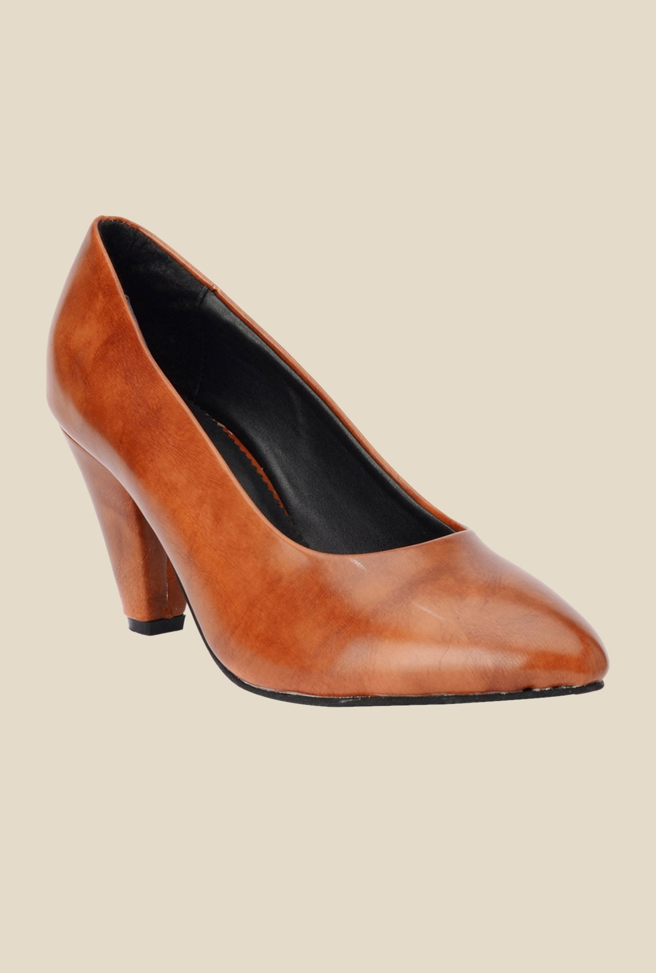 Bruno Manetti Tan Stiletto Heeled Pumps