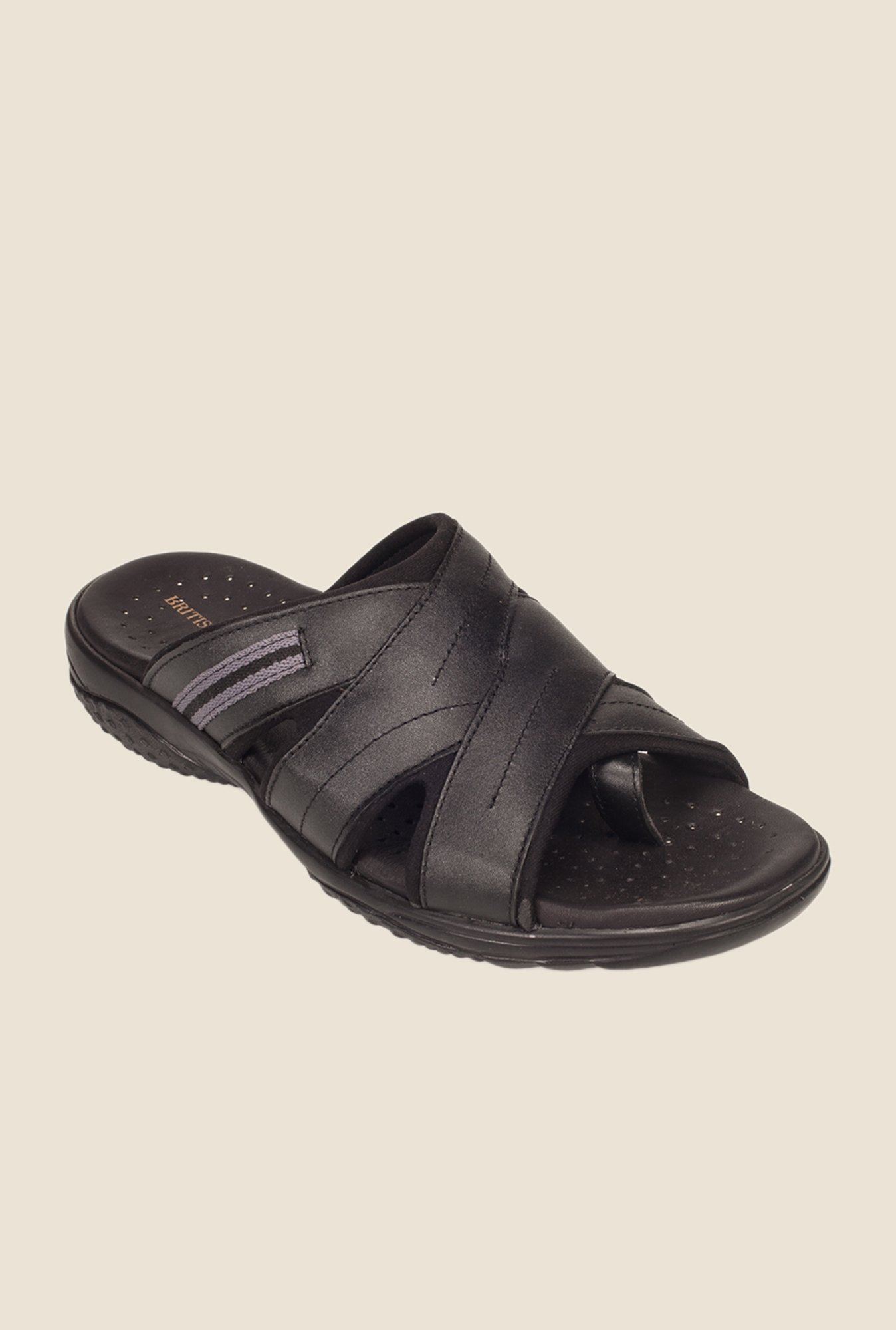 Khadim's British Walkers Black Thong Sandals