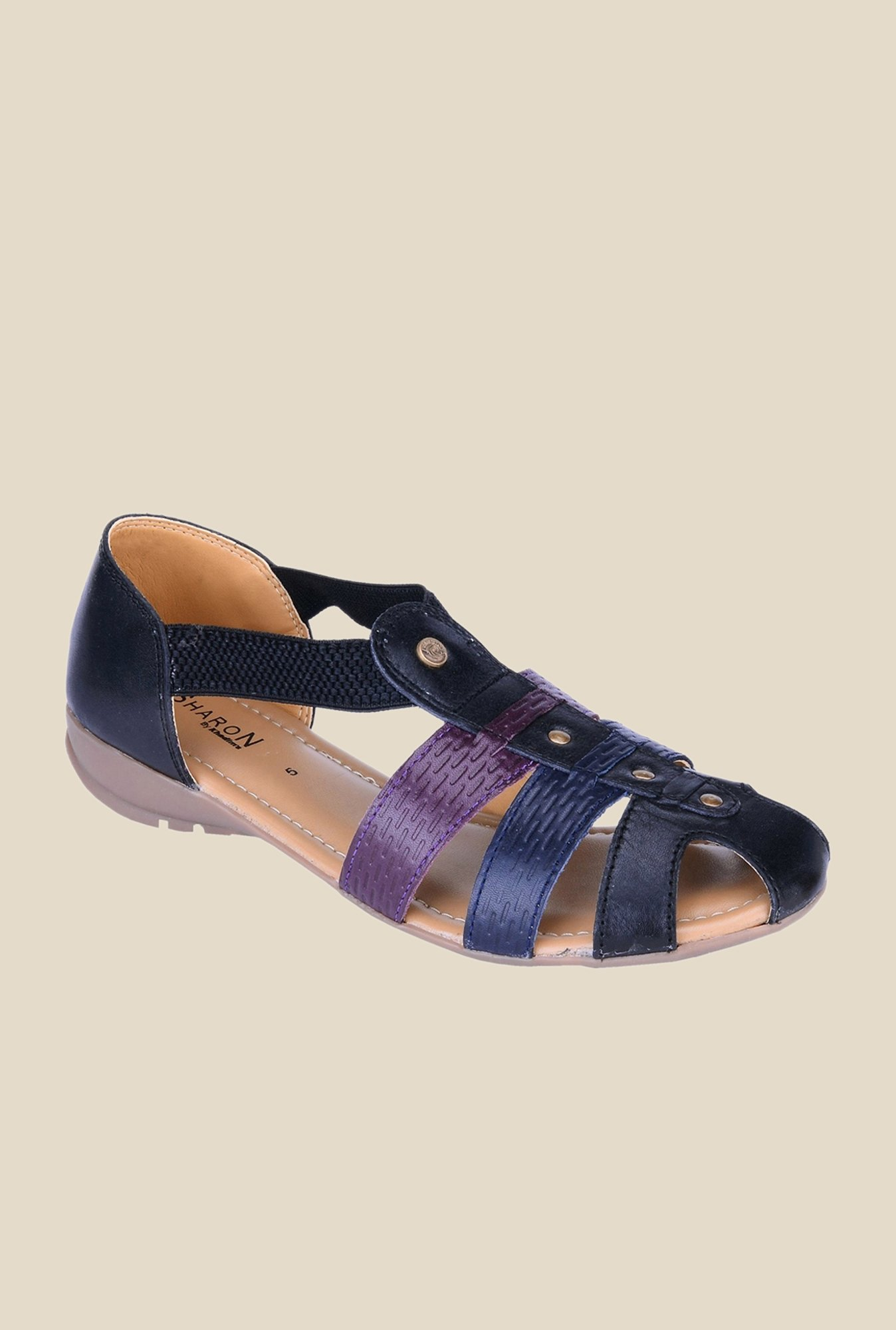 Khadim's Sharon Black & Purple Casual Sandals