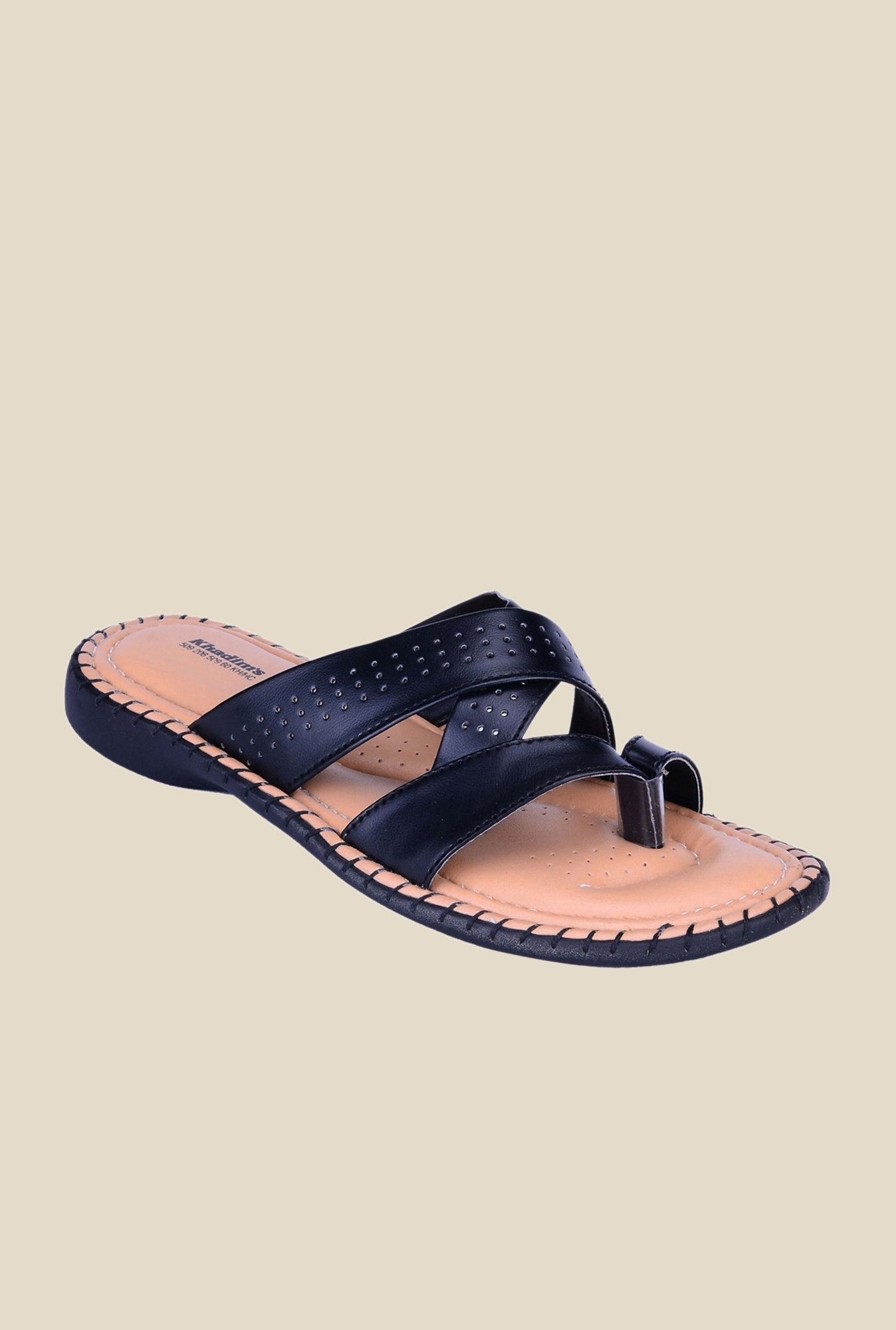 Khadim's Black Slide Sandals
