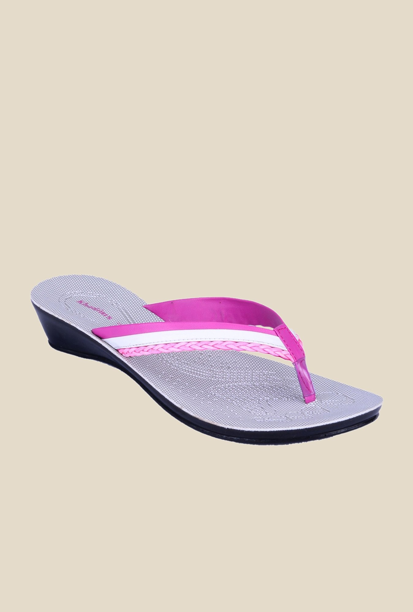Khadim's Pink & White Thong Sandals