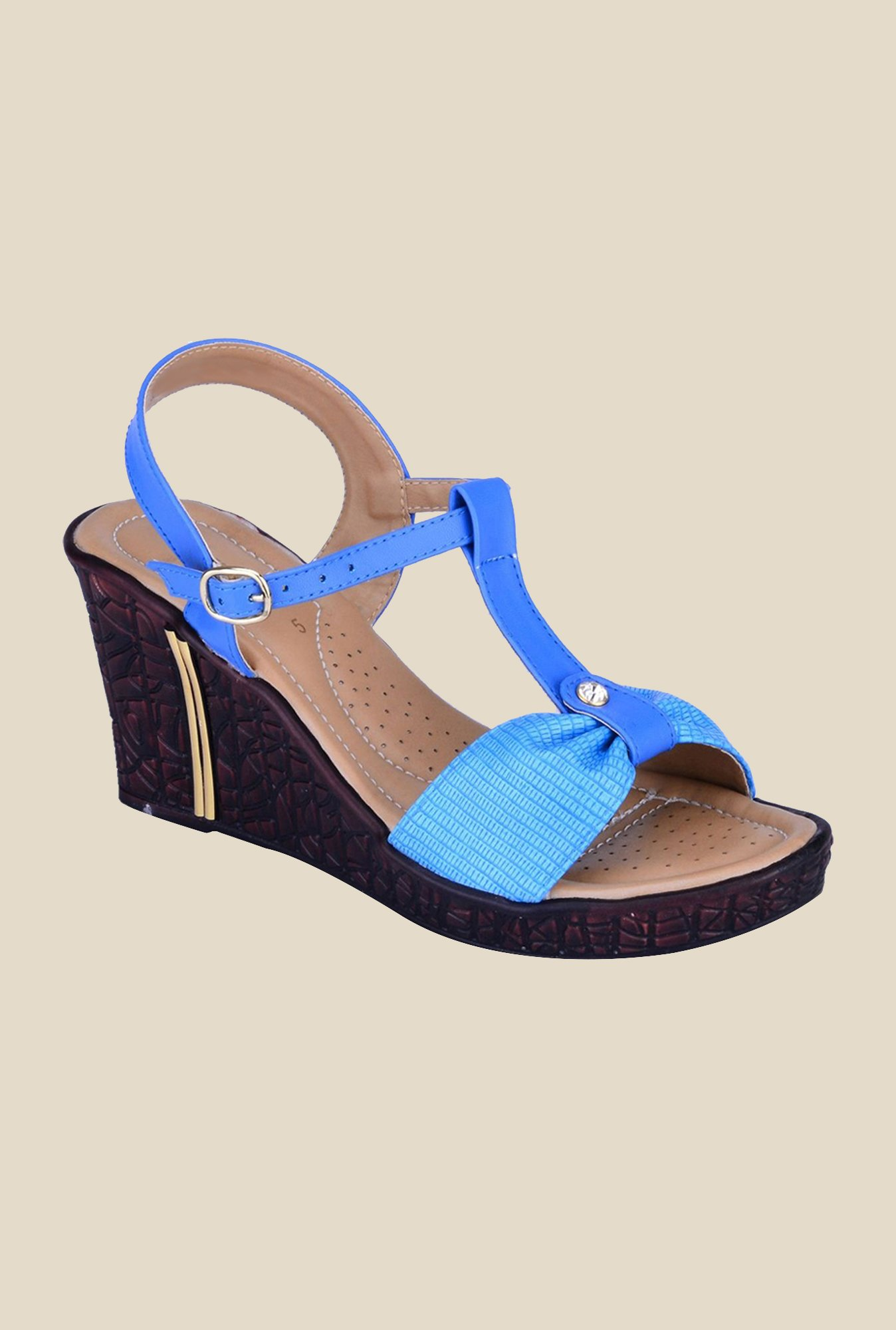 Khadim's Blue Ankle Strap Wedges
