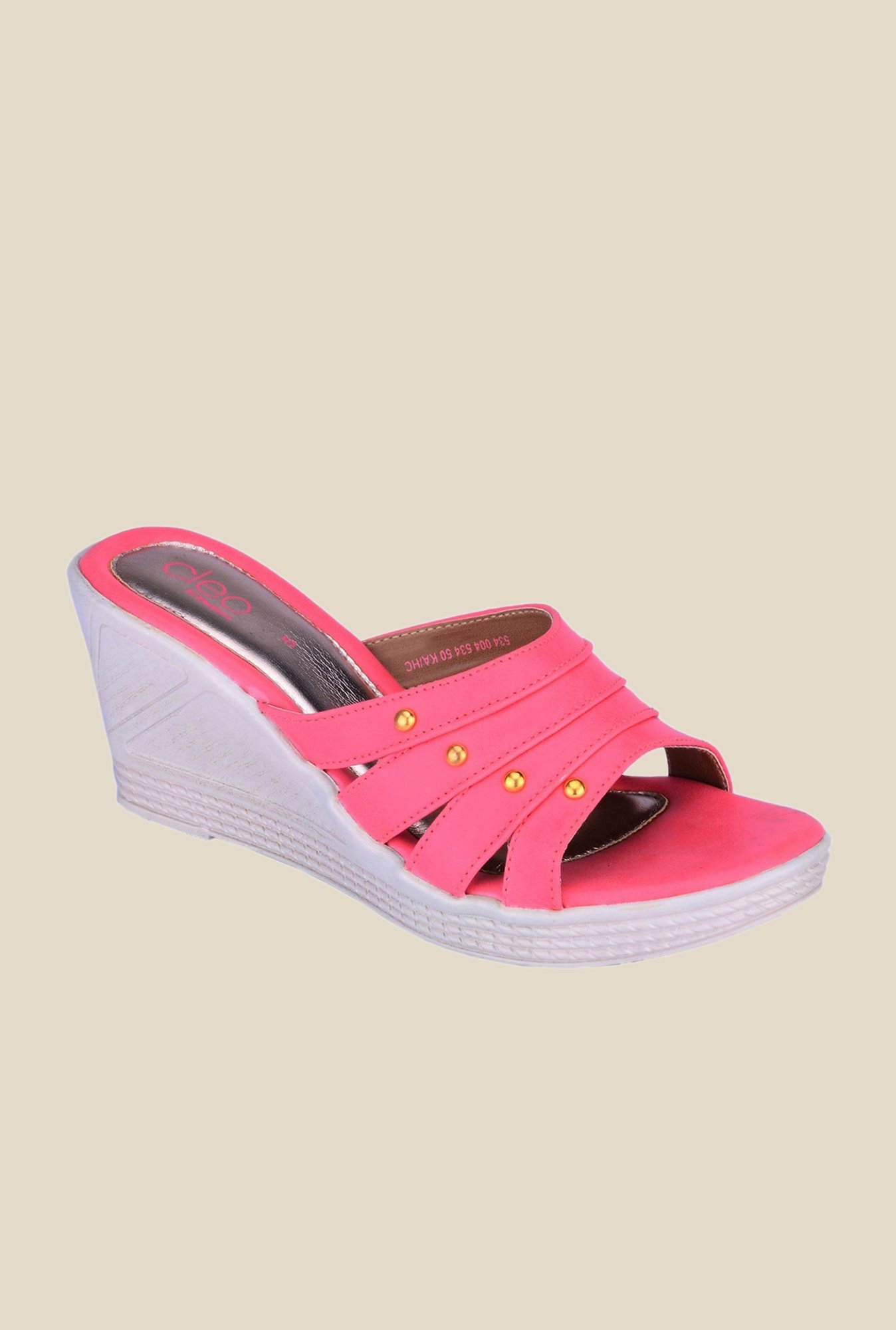 Khadim's Cleo Pink Wedge Heeled Sandals