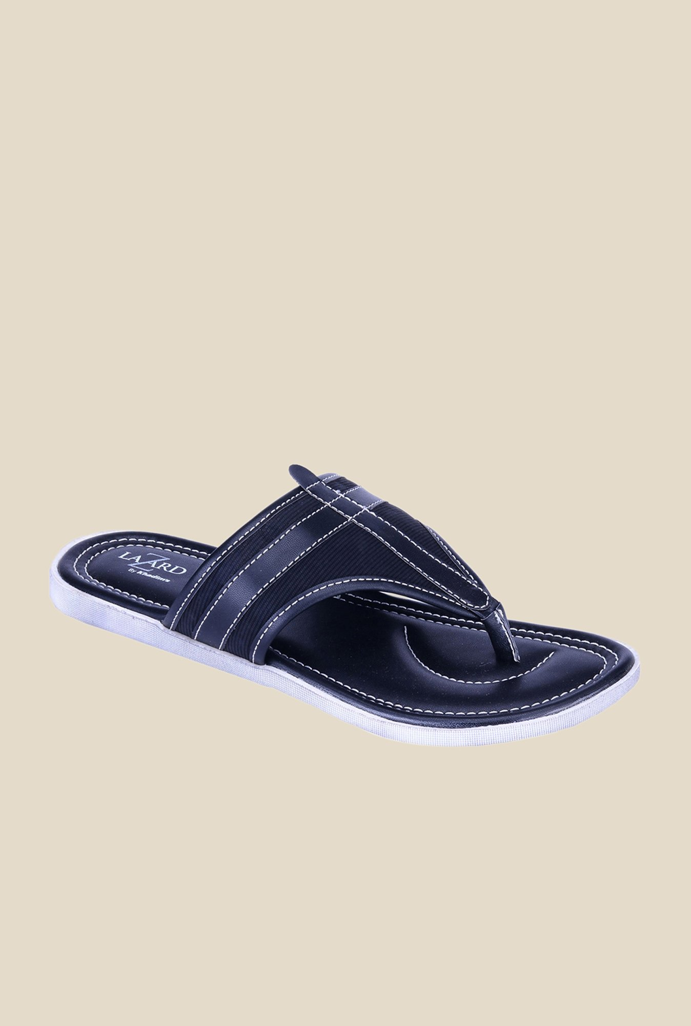 Khadim's Lazard Black T-Strap Sandals