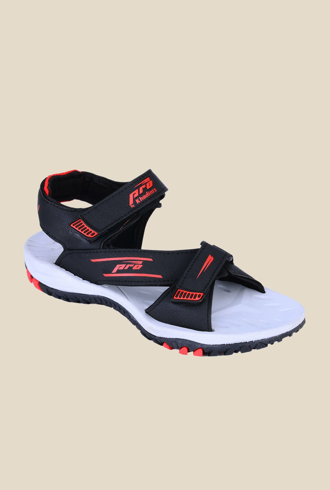 Khadim's Pro Black & Red Floater Sandals