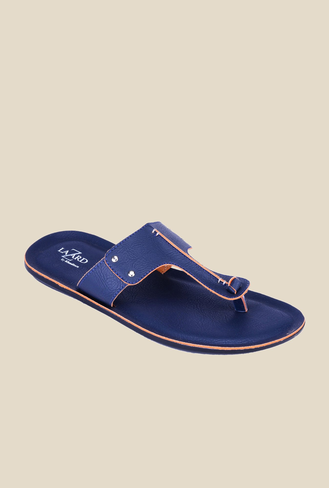 Khadim's Lazard Blue T-Strap Sandals