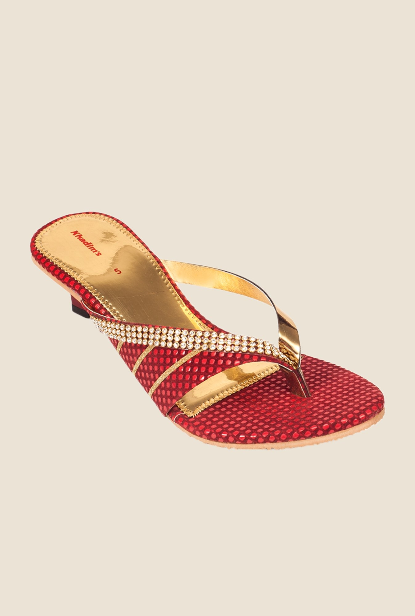 Khadim's Red & Gold Thong Sandals