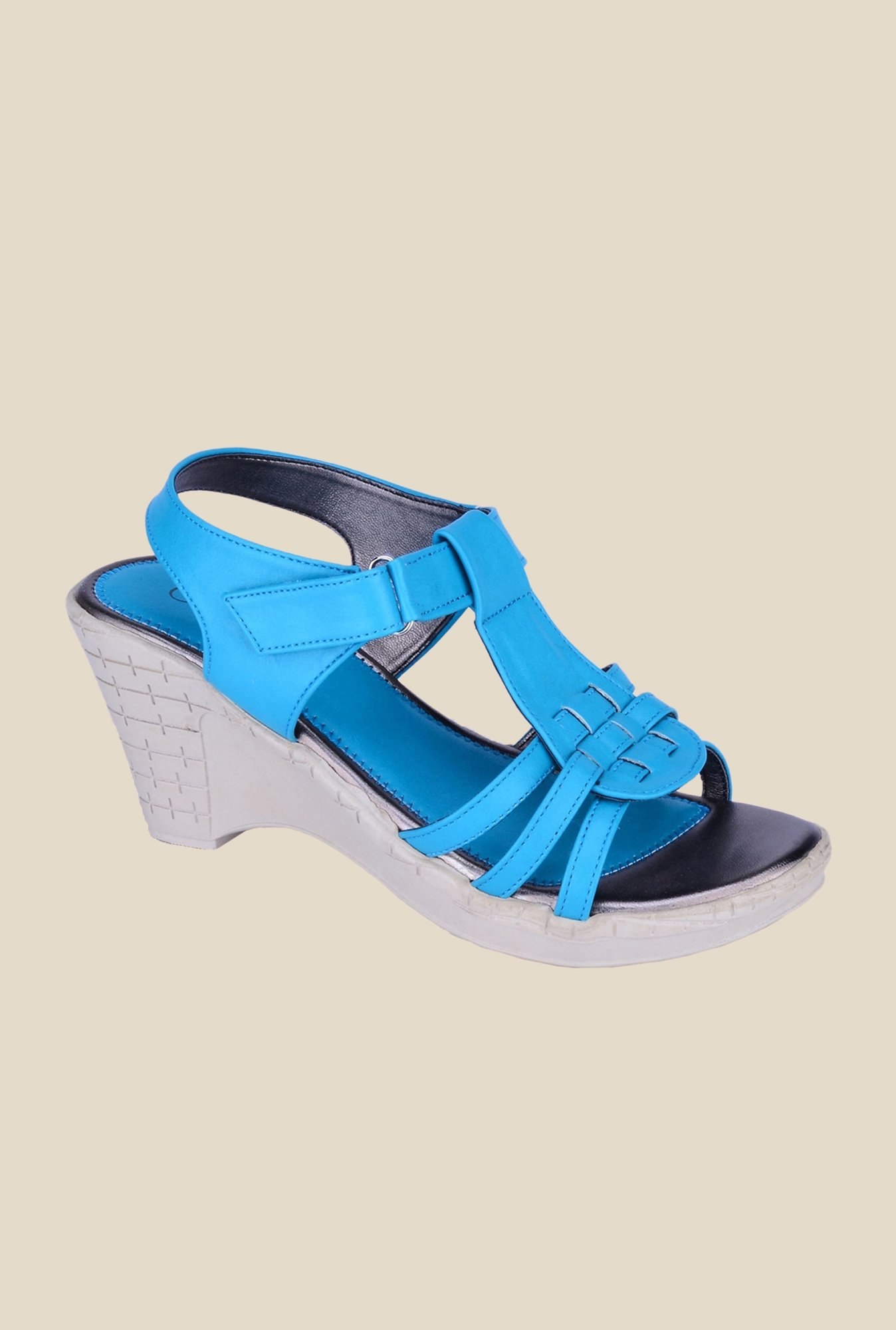 Khadim's Cleo Blue Back Strap Wedges