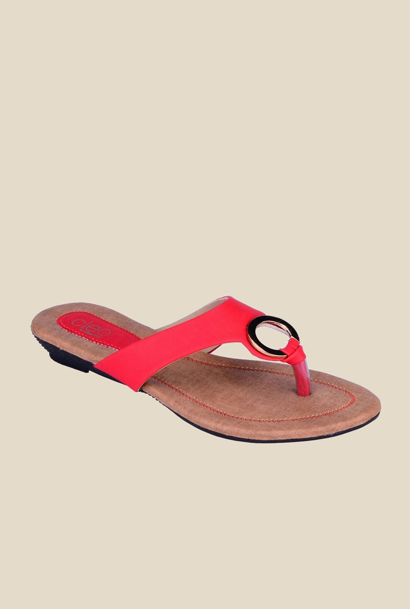 Khadim's Cleo Red Thong Sandals