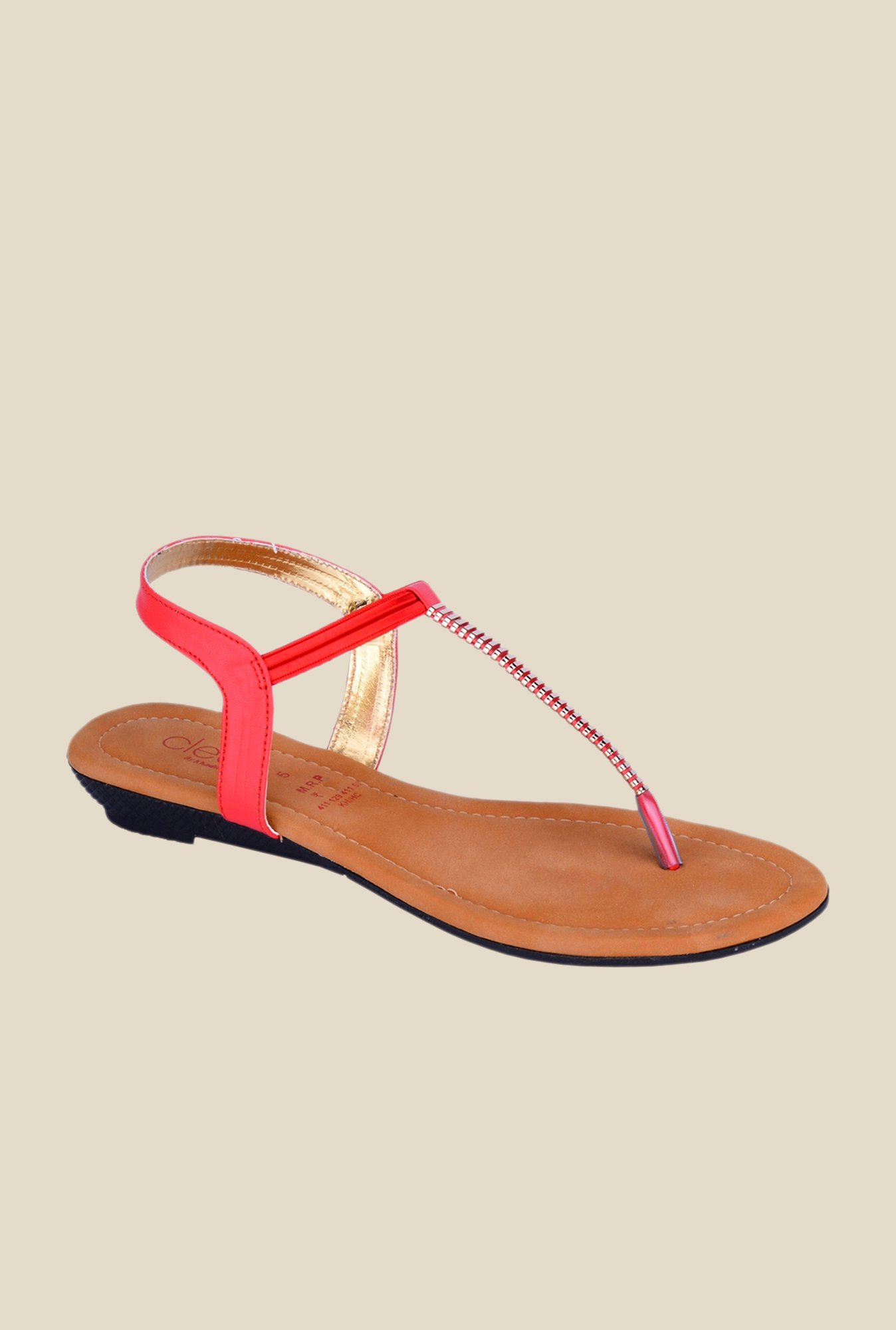Khadim's Cleo Red Sling Back Sandals