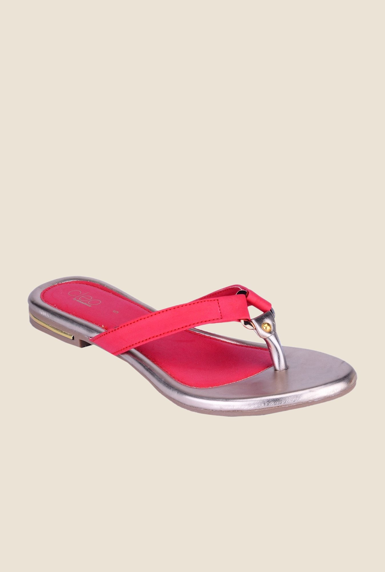 Khadim's Cleo Red & Silver Thong Sandals