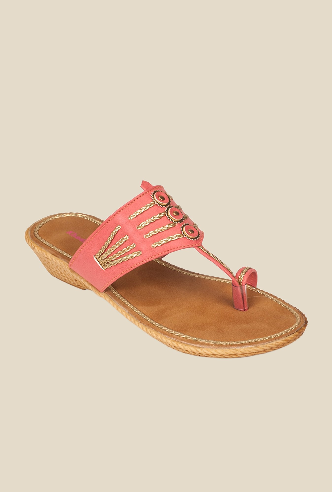 Khadim's Peach Wedge Heeled Sandals