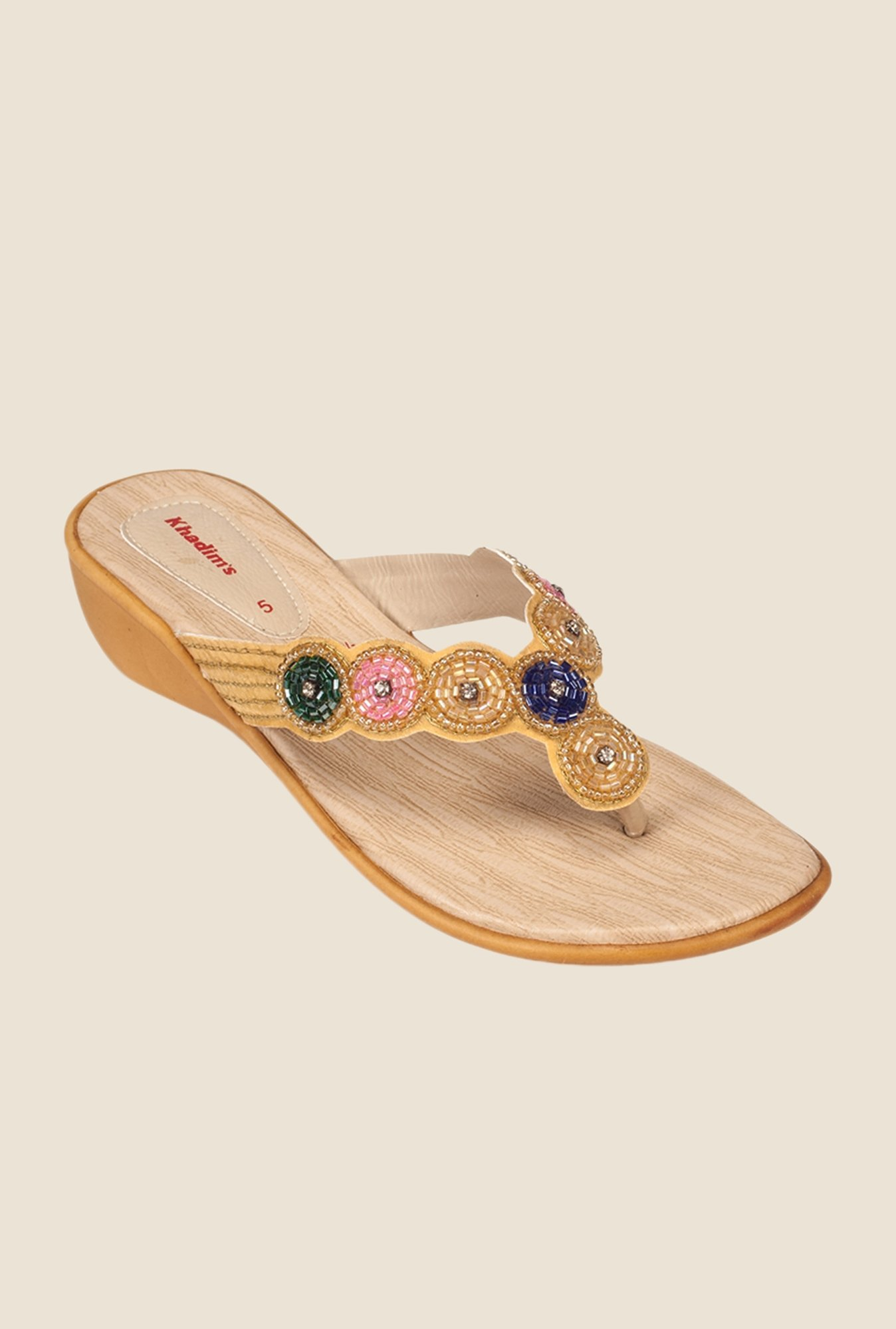 Khadim's Beige & Gold Wedge Sandals
