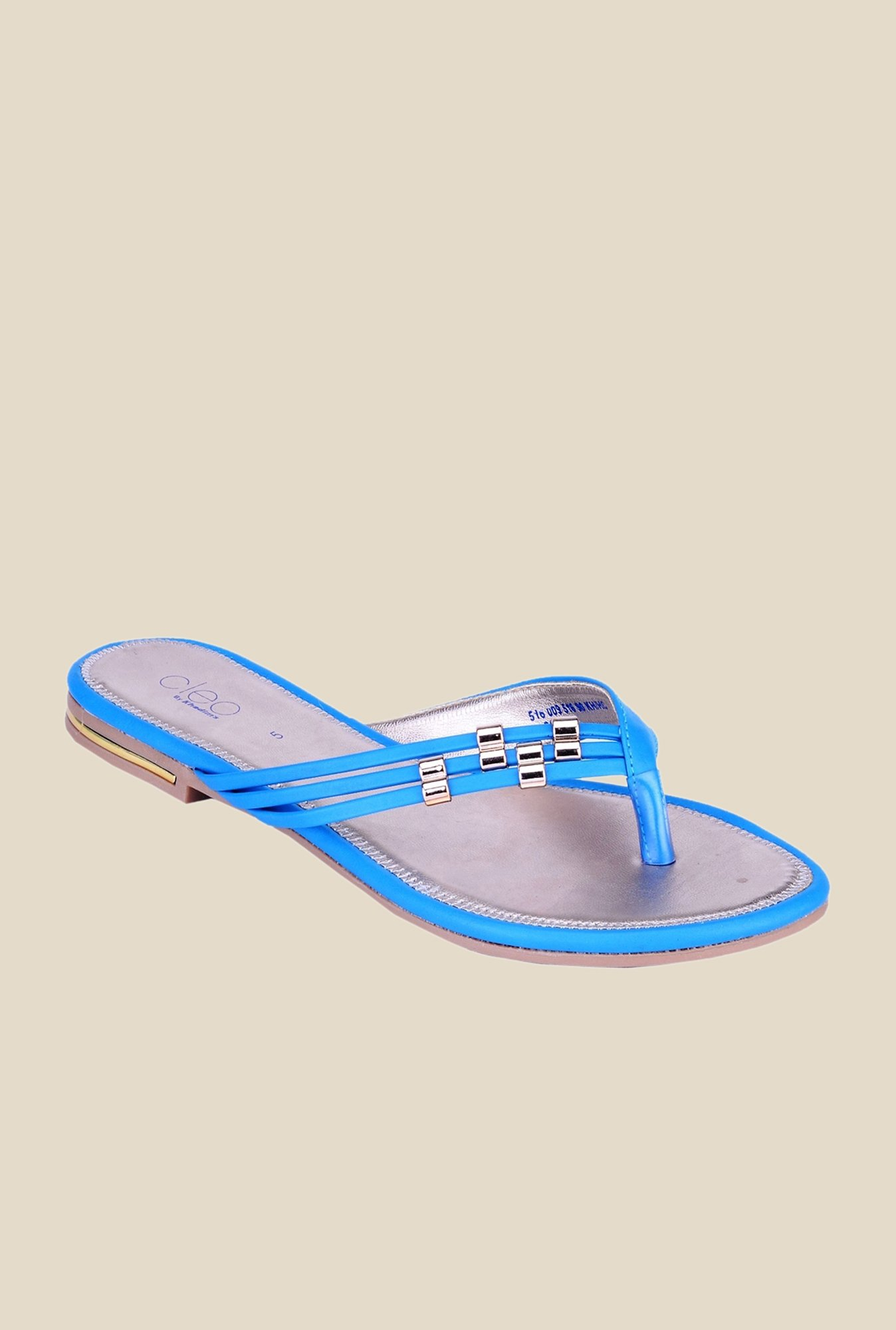 Khadim's Cleo Blue & Gold Thong Sandals