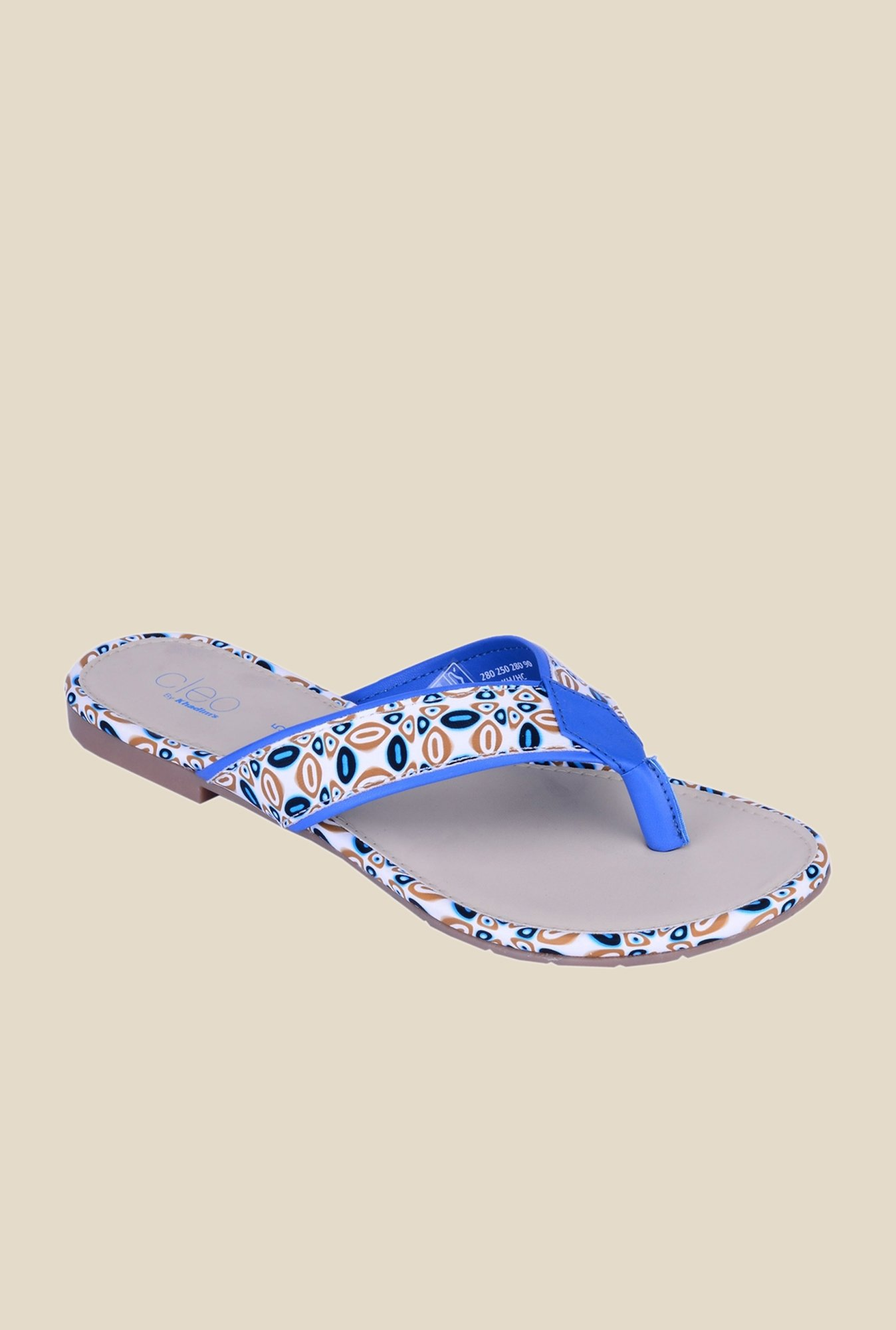 Khadim's Cleo Blue & White Thong Sandals