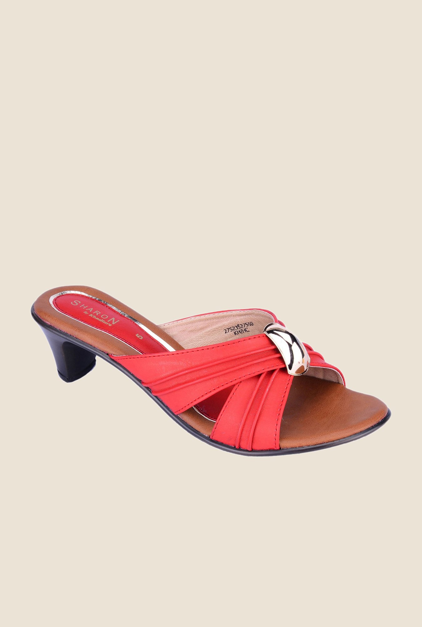 Khadim's Sharon Red & Gold Casual Sandals