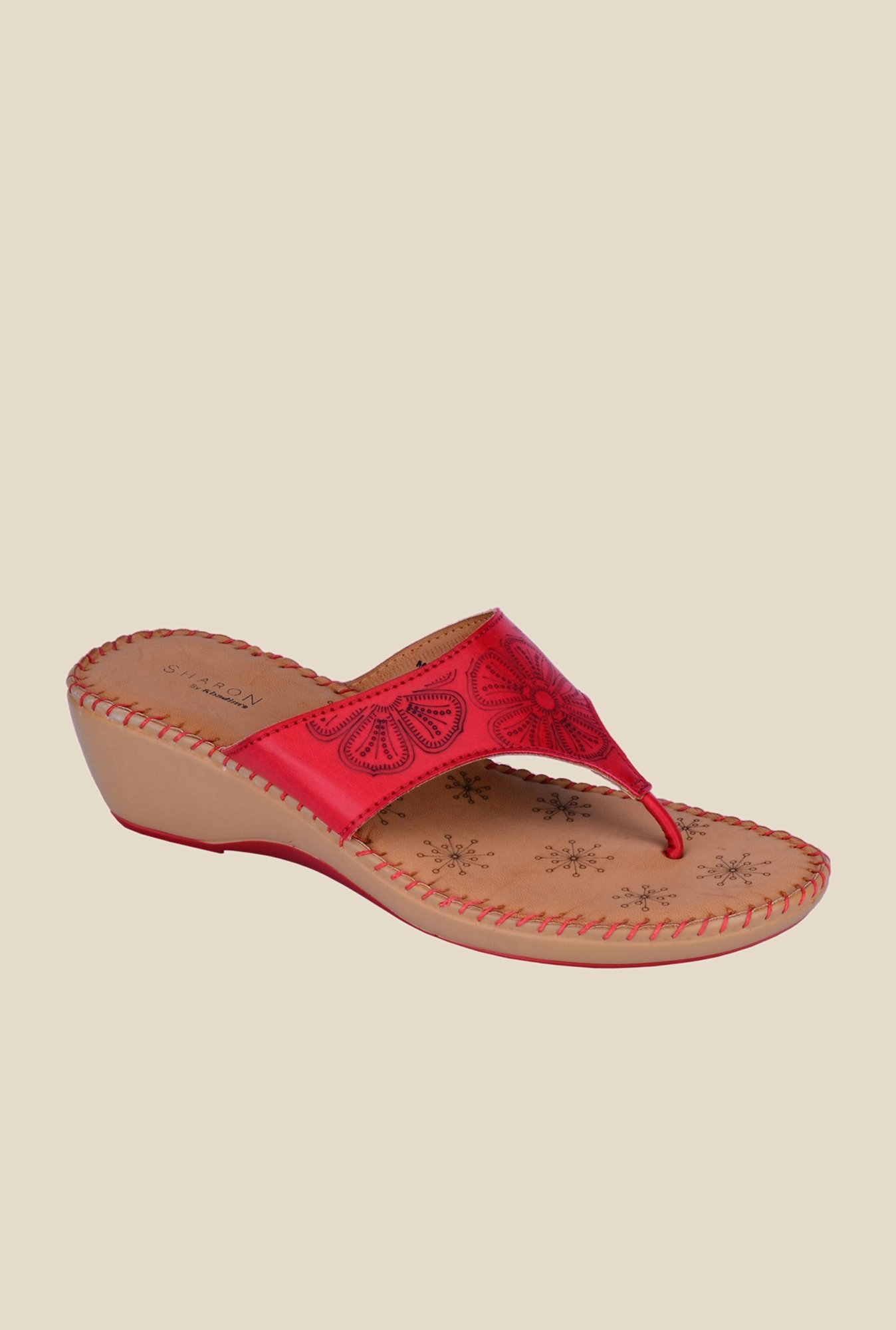 Khadim's Sharon Red Wedge Heeled Sandals