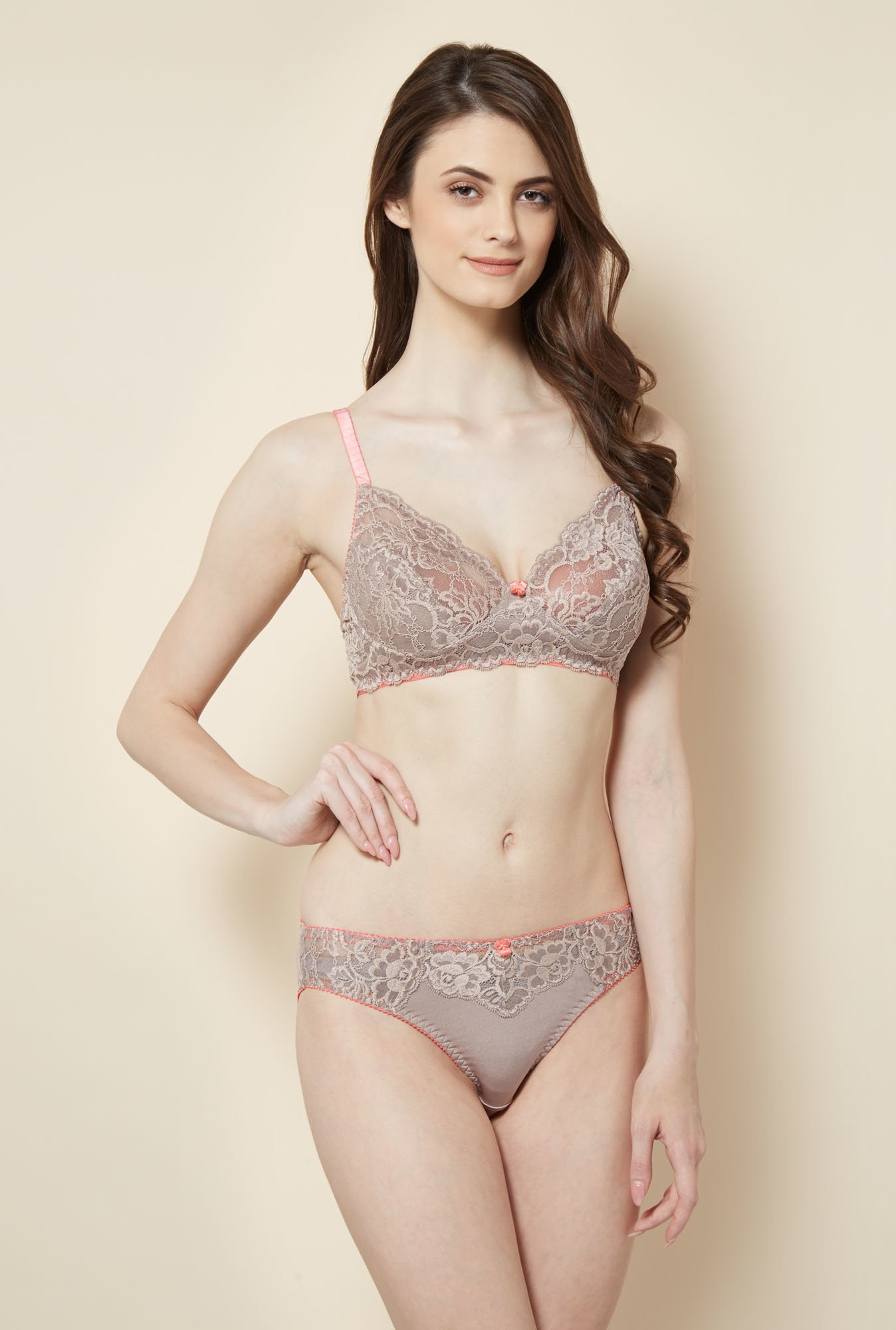 Little Lacy Taupe Lace Lingerie Set