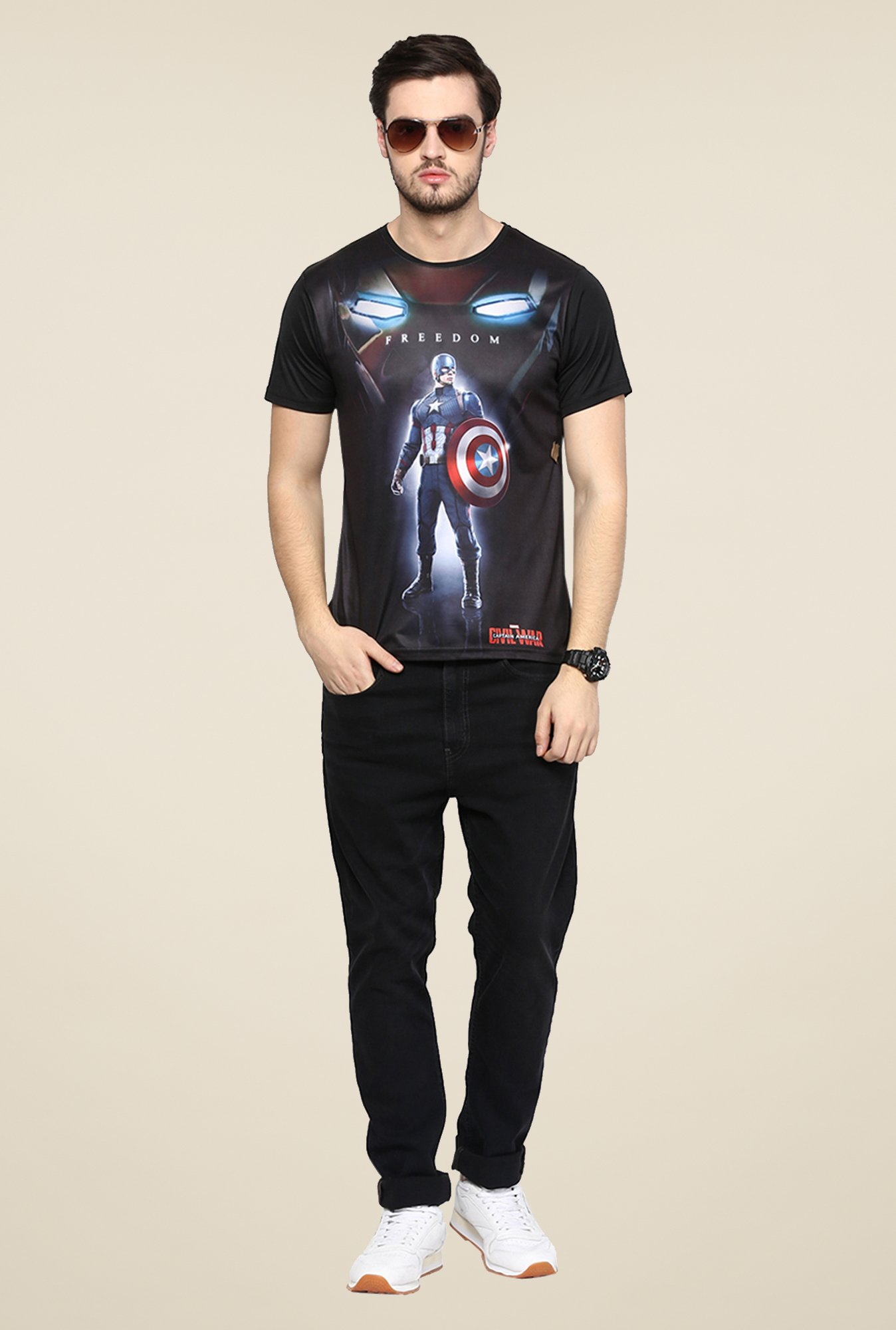 Yepme Freedom CA Black Graphic Printed T Shirt