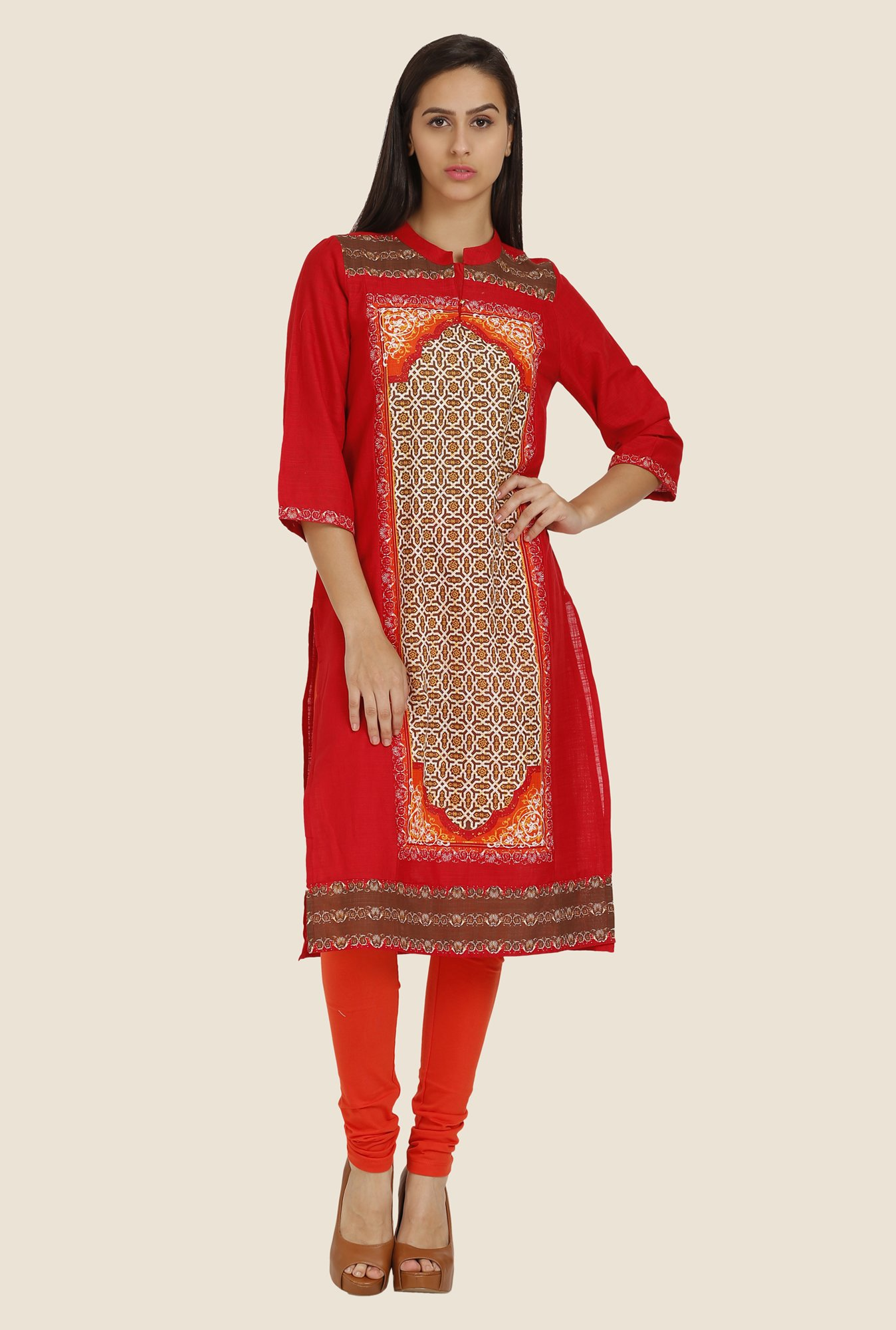 Aurelia Red Printed Band Neck Kurta