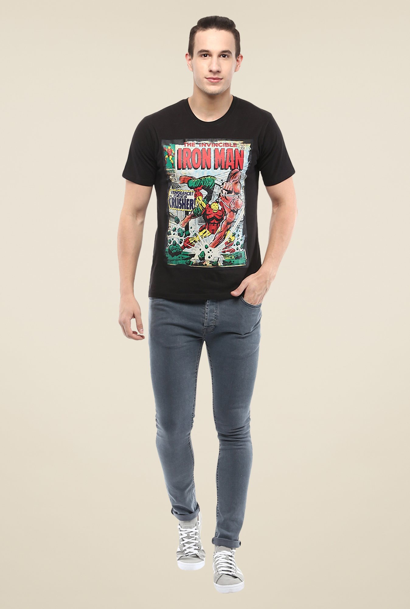 Yepme Marvel & Disney Black Graphic Printed T Shirt
