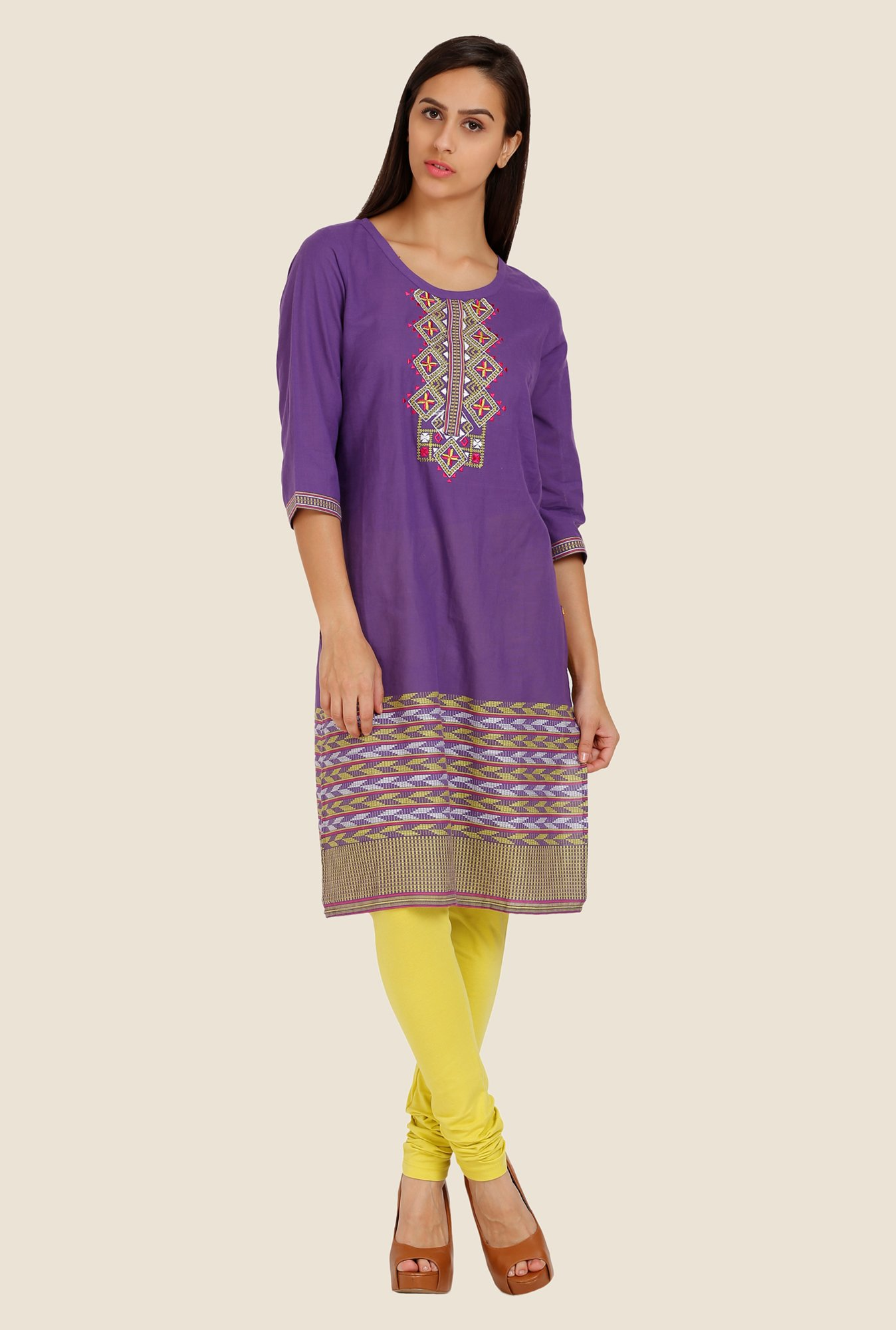 Aurelia Purple Embroidered Kurta