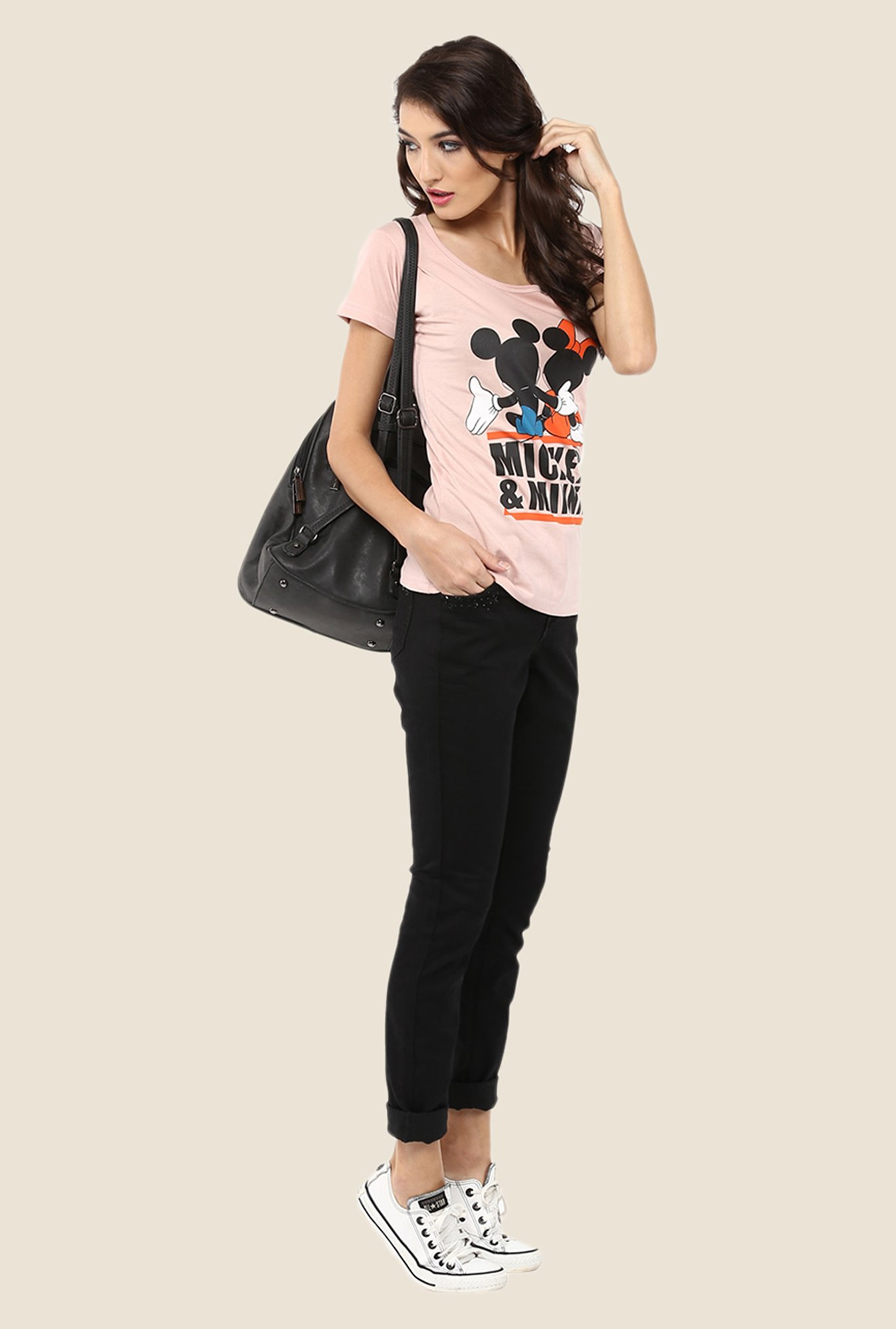 Yepme Marvel & Disney Pink Graphic Printed Tee
