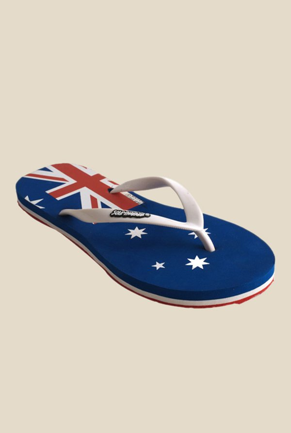 Solethreads Aussie White & Royal Blue Flip Flops