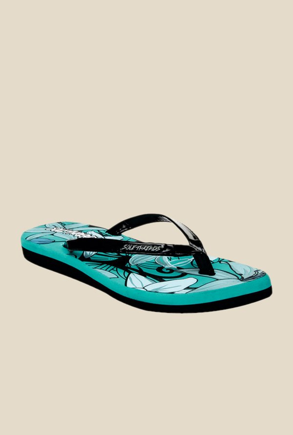 Solethreads California Black & Sea Green Flip Flops