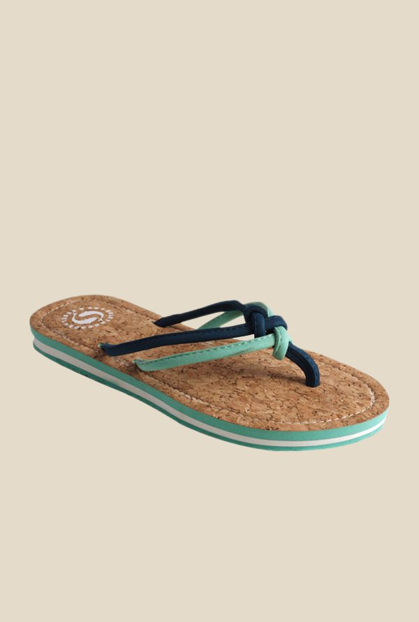 Solethreads Cork Navy & Sea Green Flip Flops