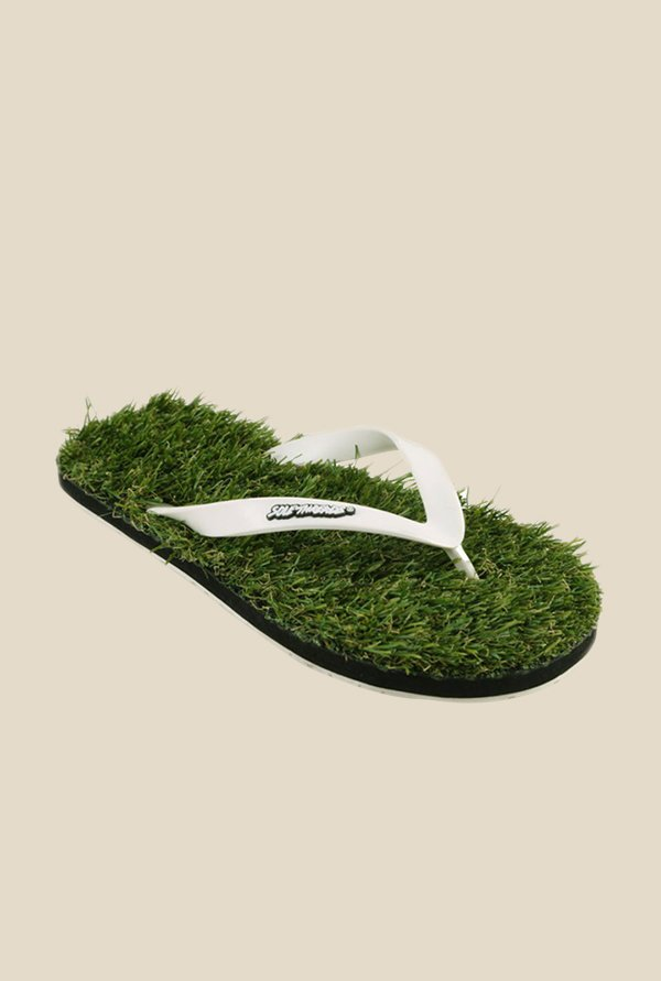 Solethreads Grass White & Green Flip Flops