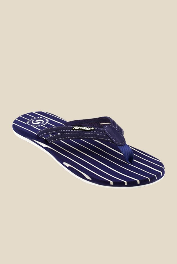 Solethreads Stripes Navy Flip Flops