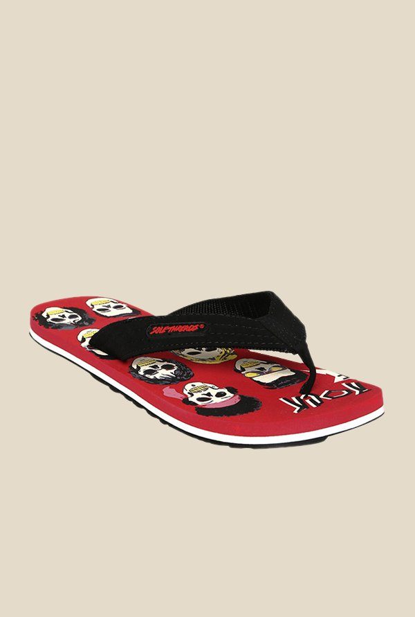 Solethreads Skull of Rock Black & Red Flip Flops