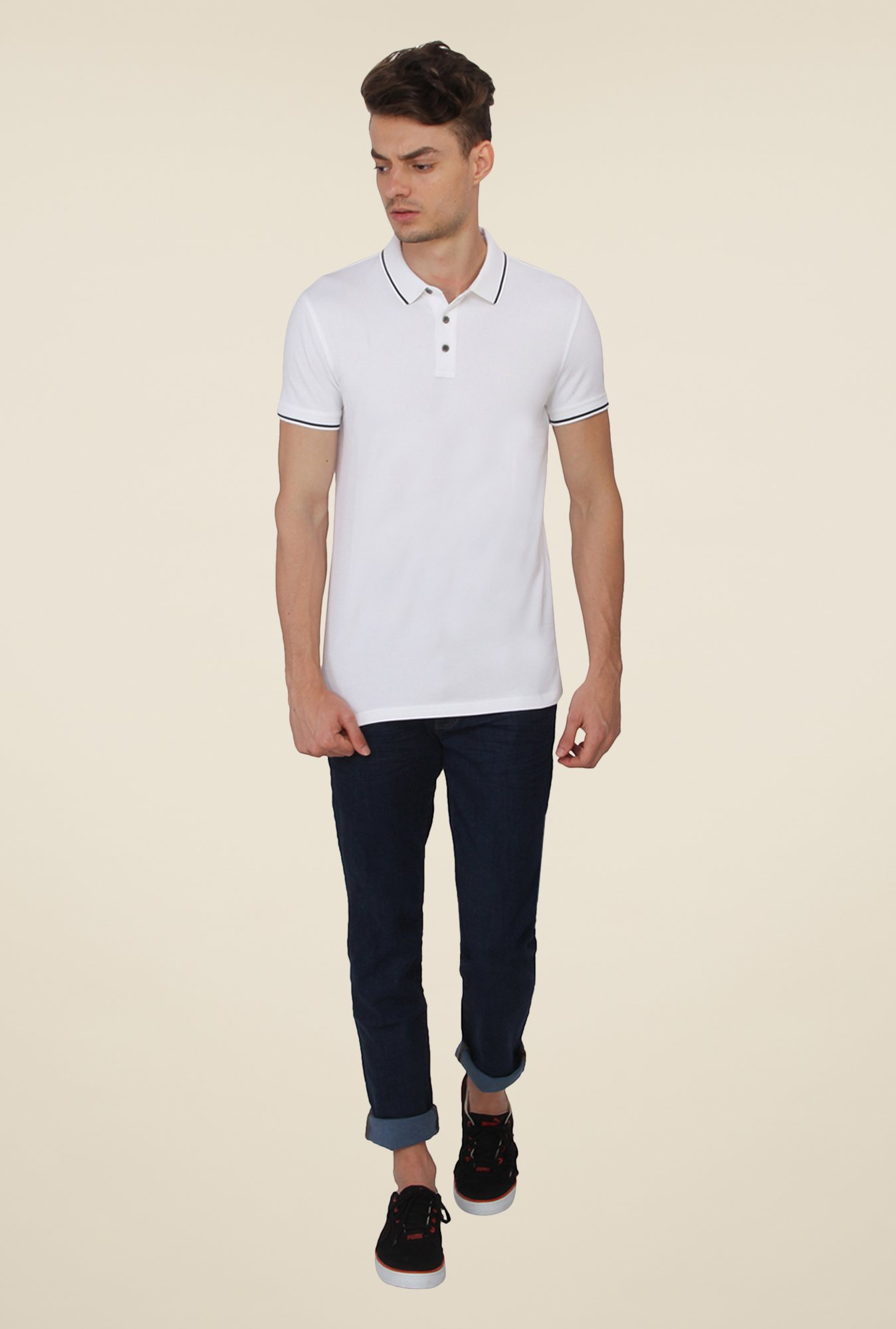 Calvin Klein White Solid Polo T-Shirt