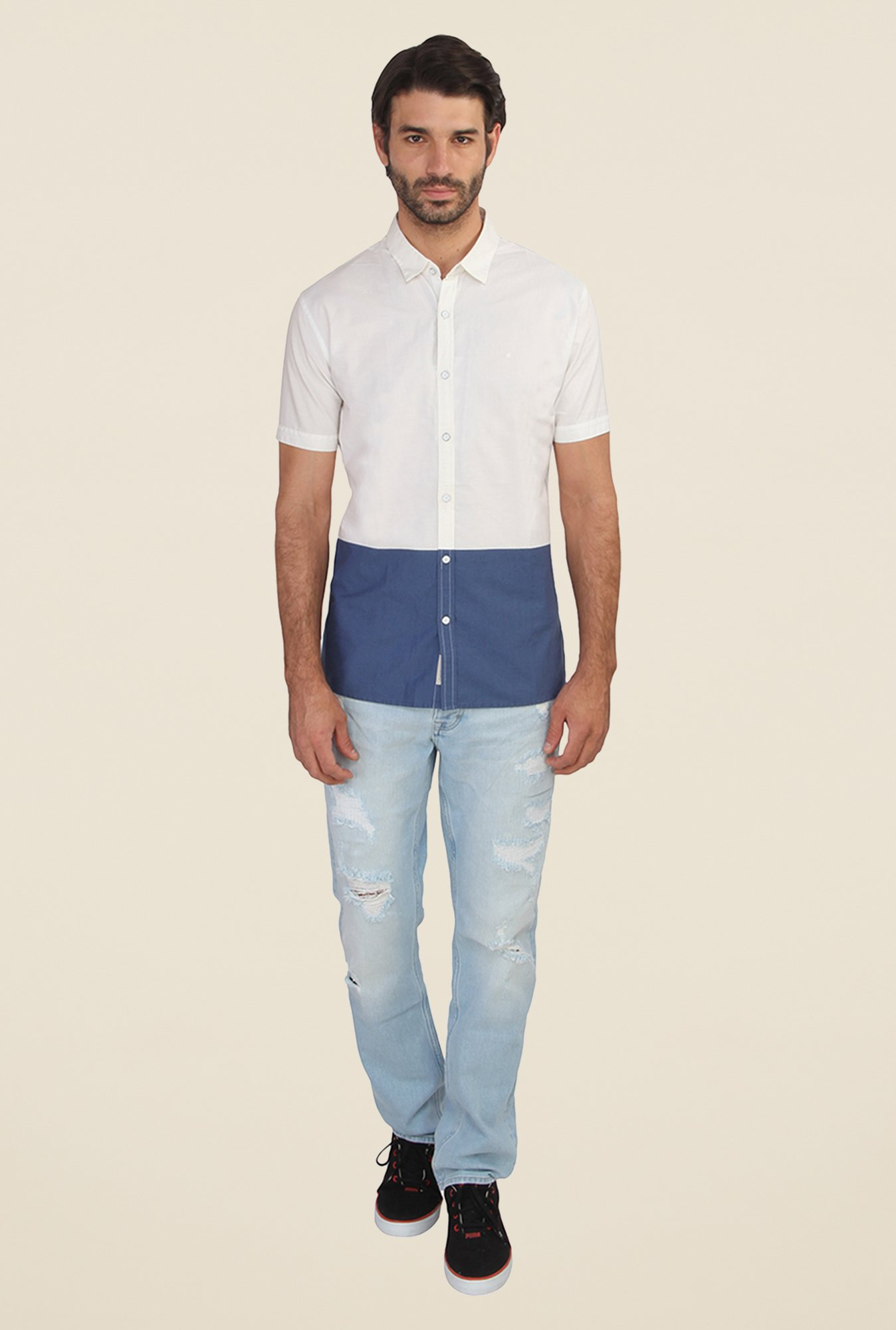Calvin Klein White & Blue Solid Half Sleeve Shirt