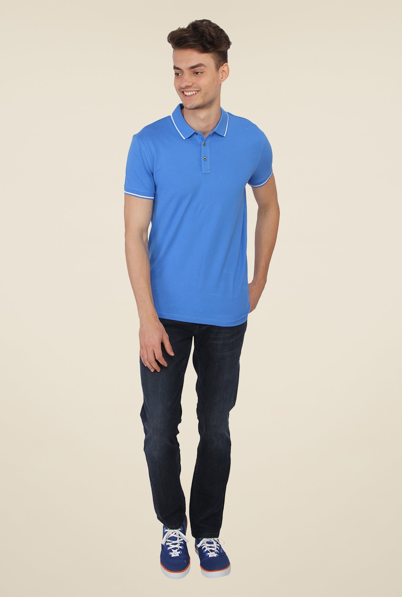 Calvin Klein Blue Solid Polo T-Shirt