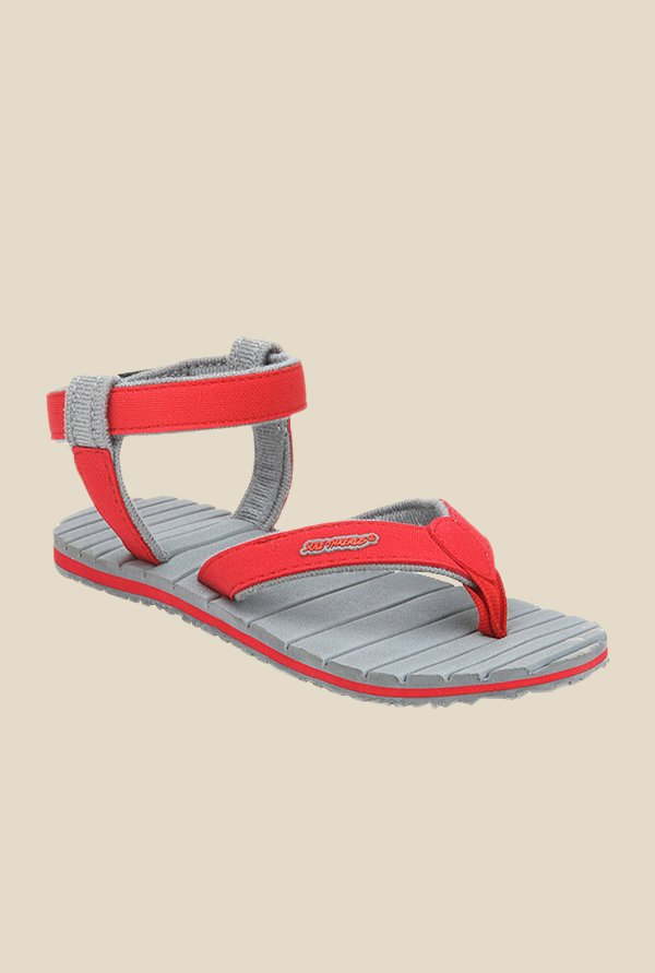 Solethreads Dapper Red & Grey Floater Sandals