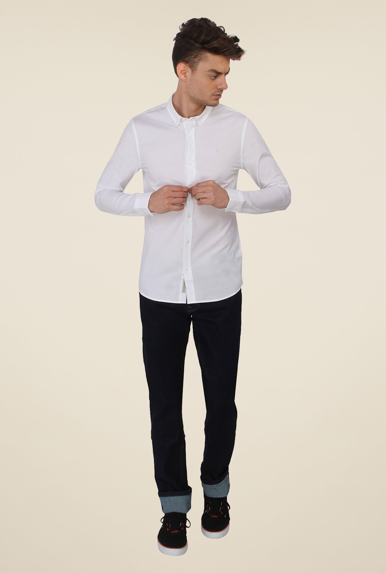 Calvin Klein White Solid Shirt