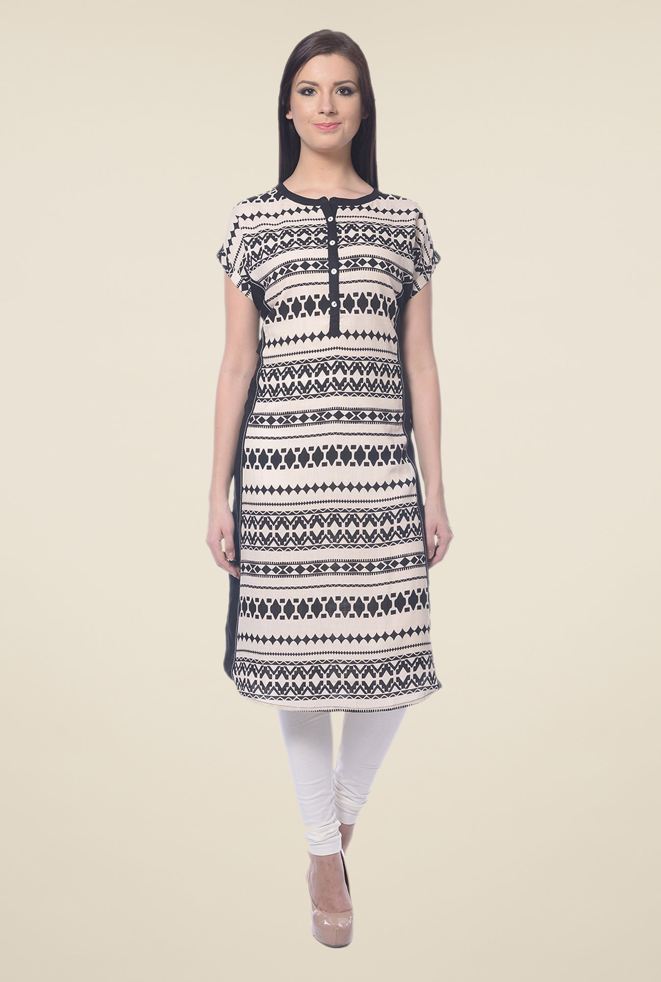 Forever Fashion Black & Beige Printed Tunic